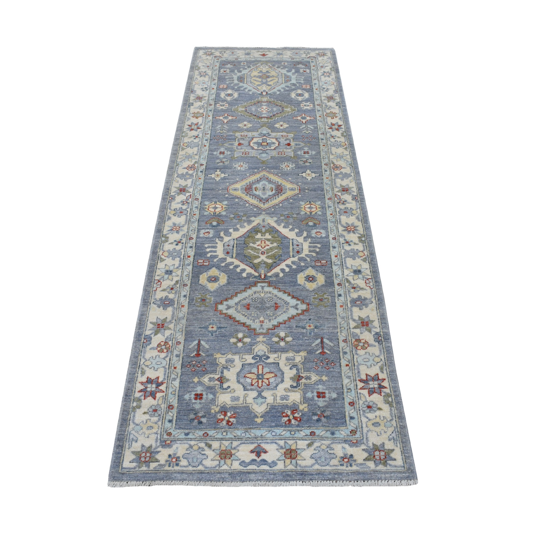 """2'7""""X7'8"""" Gray With Pop Of Color Karajeh Design Afghan Peshawar Hand Knotted Runner Oriental Rug moaed9a8"""