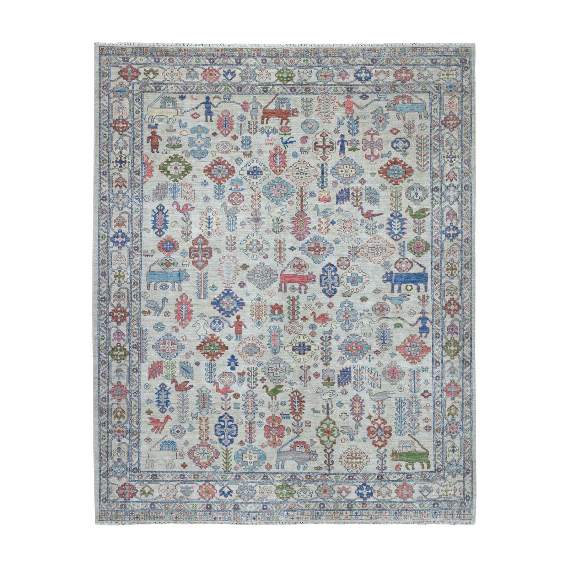 "8'1""X9'7"" Peshawar With Pop Of Color Figurines Afghan Wool Hand Knotted Oriental Rug moaed9bd"