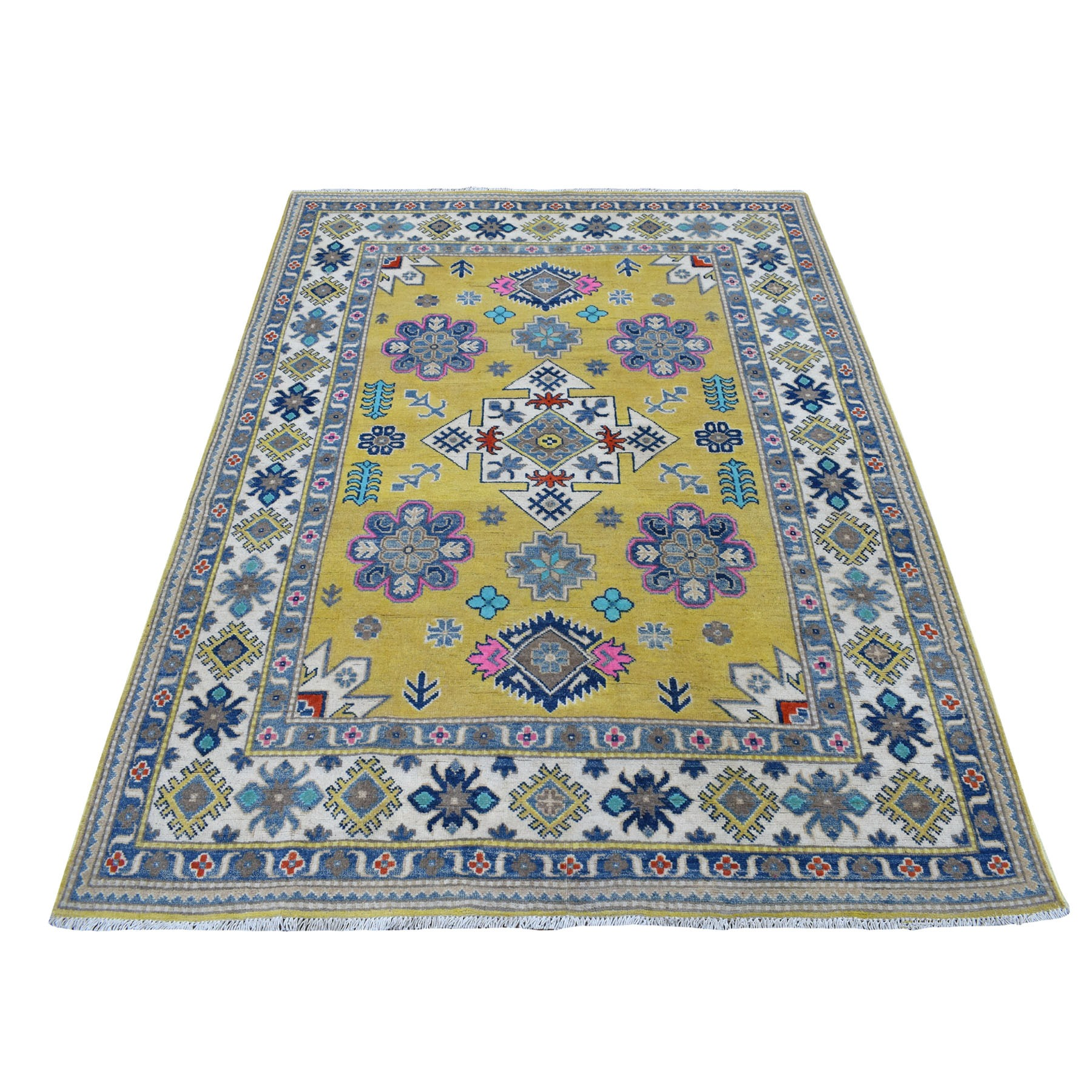 """4'10""""x6'6"""" Colorful Yellow Fusion Kazak Pure Wool Geometric Design Hand Knotted Oriental Rug"""