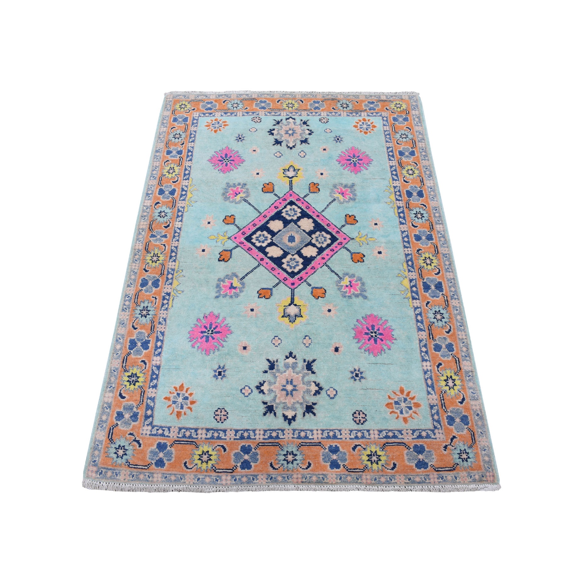"""3'3""""X4'10"""" Mint Turquoise Fusion Kazak Pure Wool Hand Knotted Oriental Rug moaed9c9"""