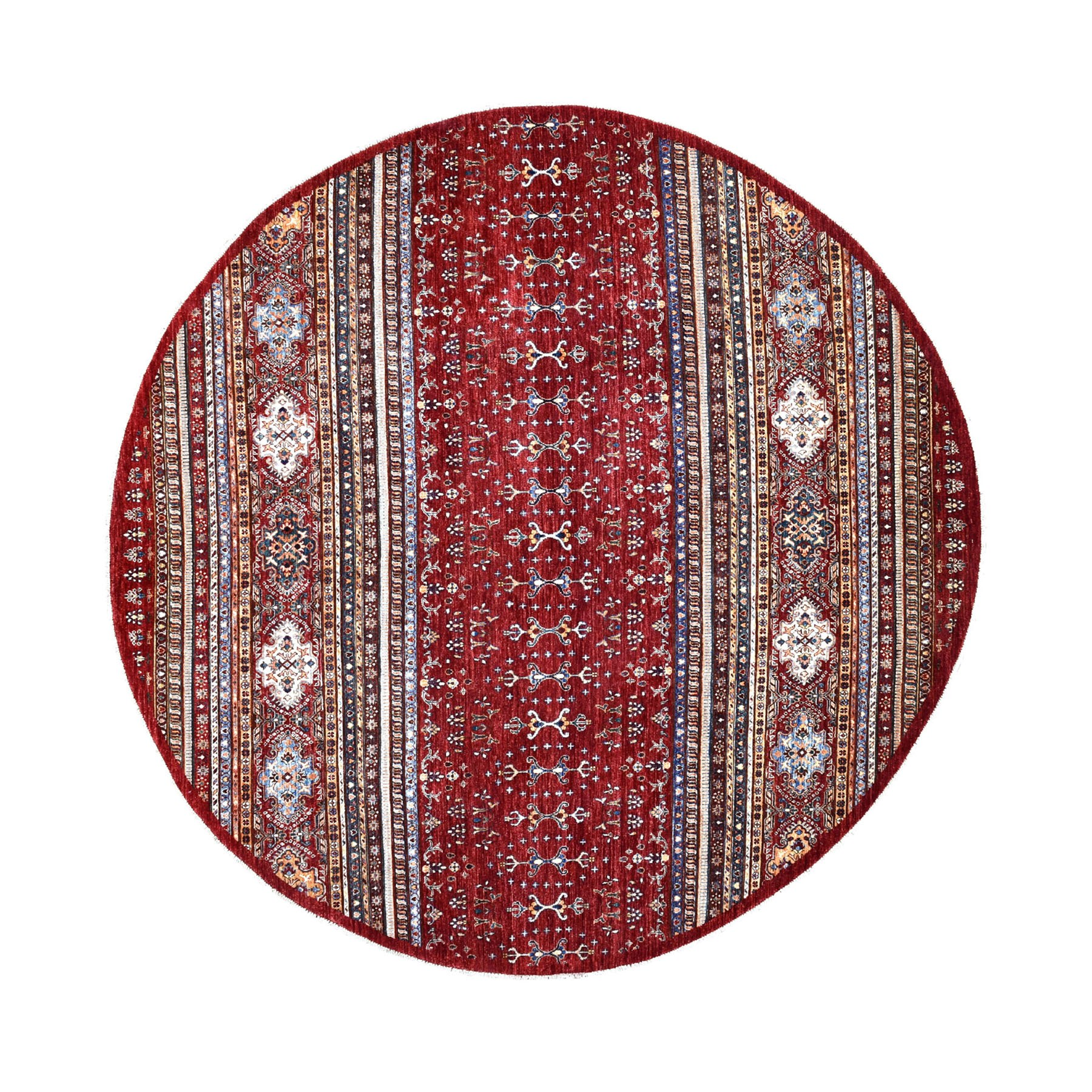 "9'5""X9'5"" Red Round Khorjin Design Super Kazak Pure Wool Hand Knotted Oriental Rug moaed9e6"