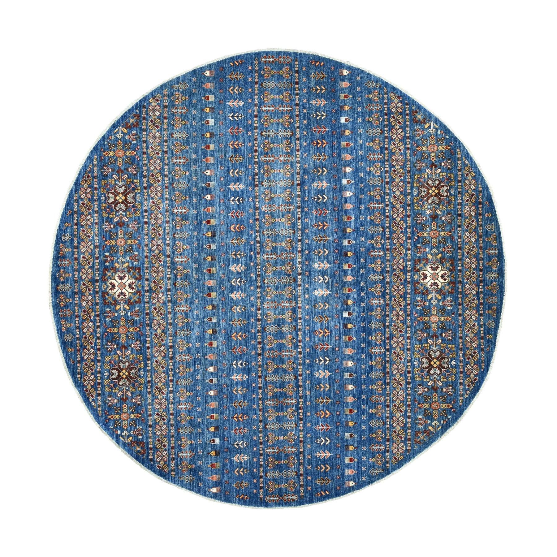 9'X9' Blue Round Khorjin Design Super Kazak Afghan Wool Hand Knotted Oriental Rug moaed9e7