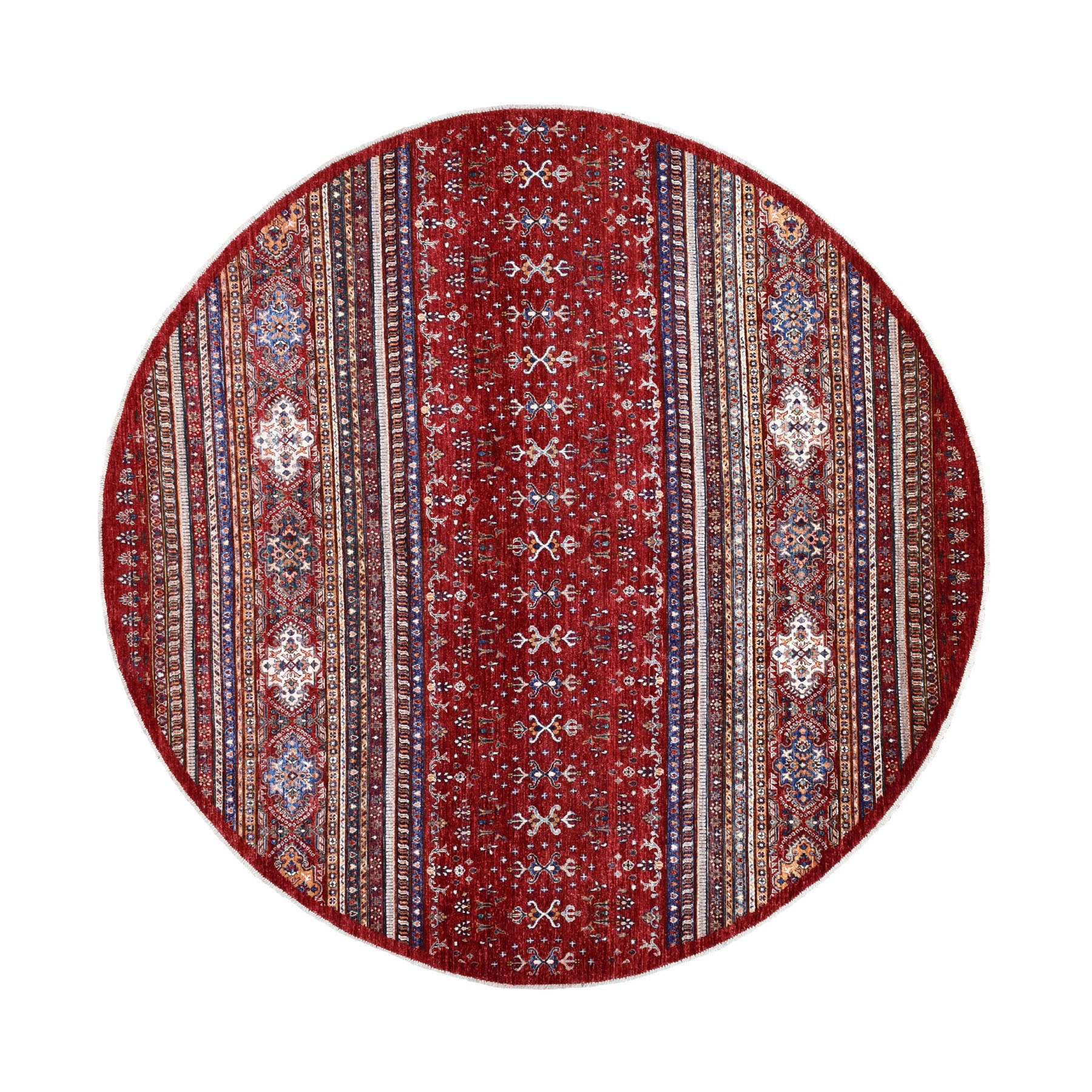 "9'7""X9'7"" Red Round Super Kazak Khorjin Design Natural Wool Hand Knotted Oriental Rug moaed9e8"