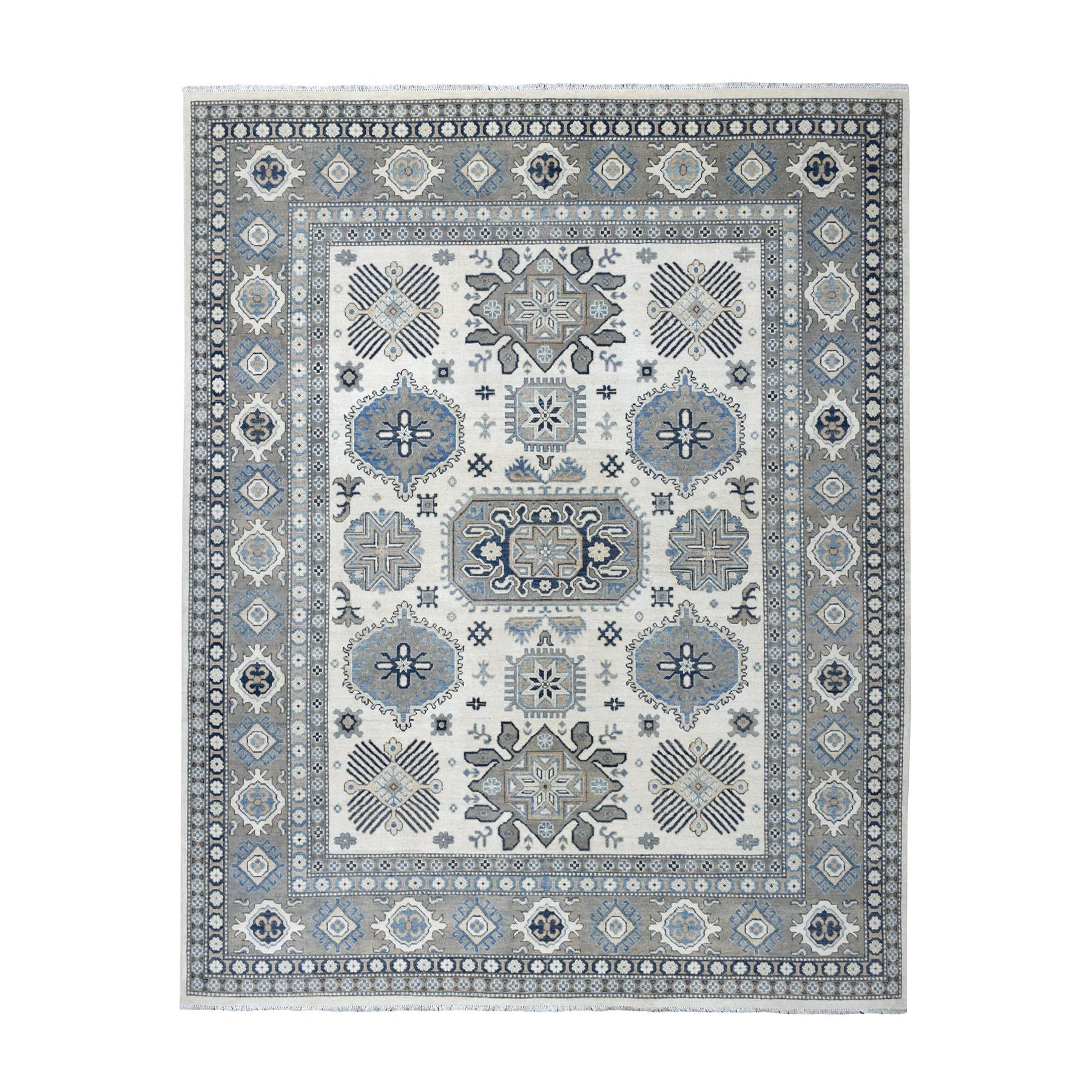 "8'1""X9'7"" Ivory Vintage Look Kazak Geometric Design Natural Wool Hand Knotted Oriental Rug moaed960"