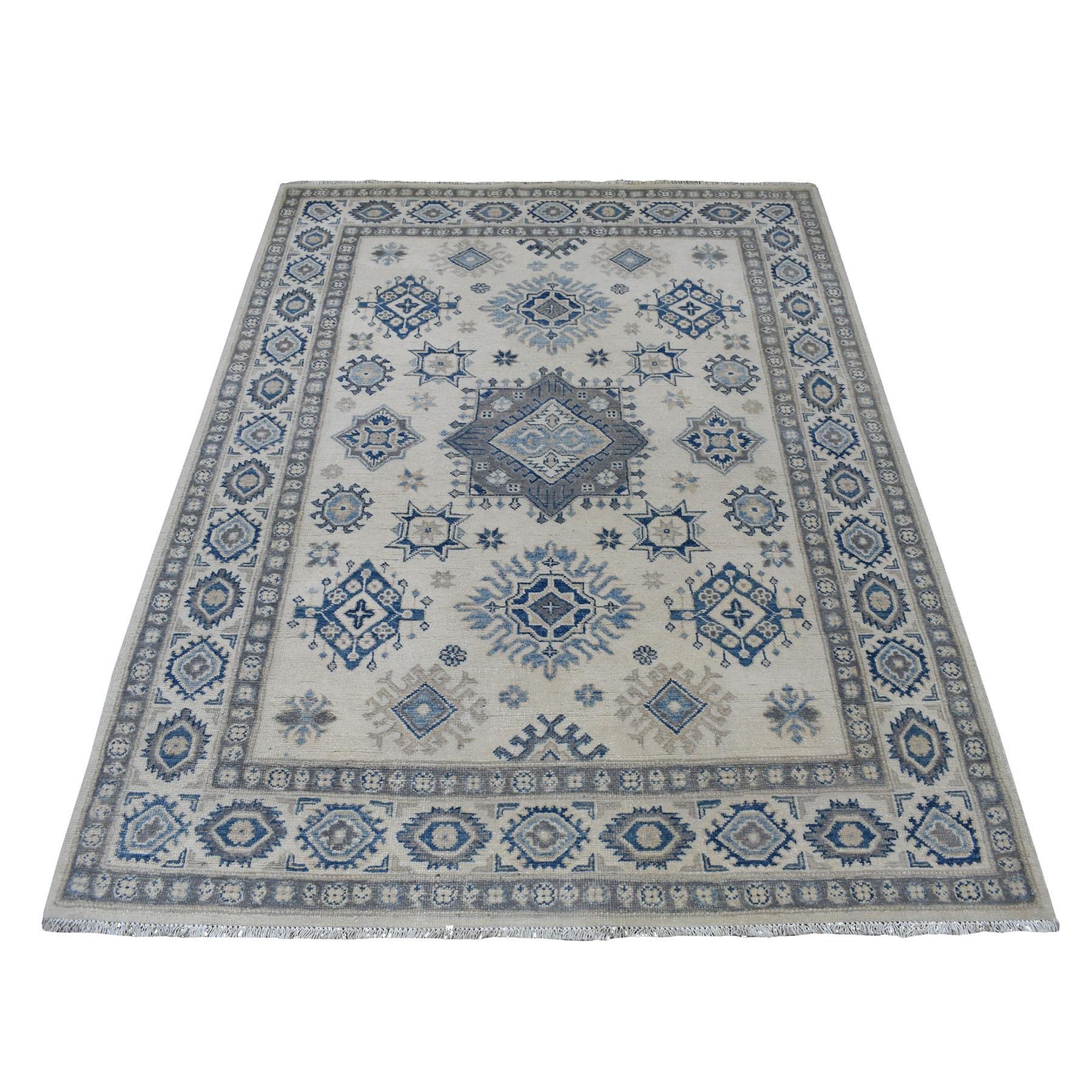 "4'9""X6'5"" Ivory Vintage Look Kazak Geometric Design Organic Wool Hand Knotted Oriental Rug moaed96c"
