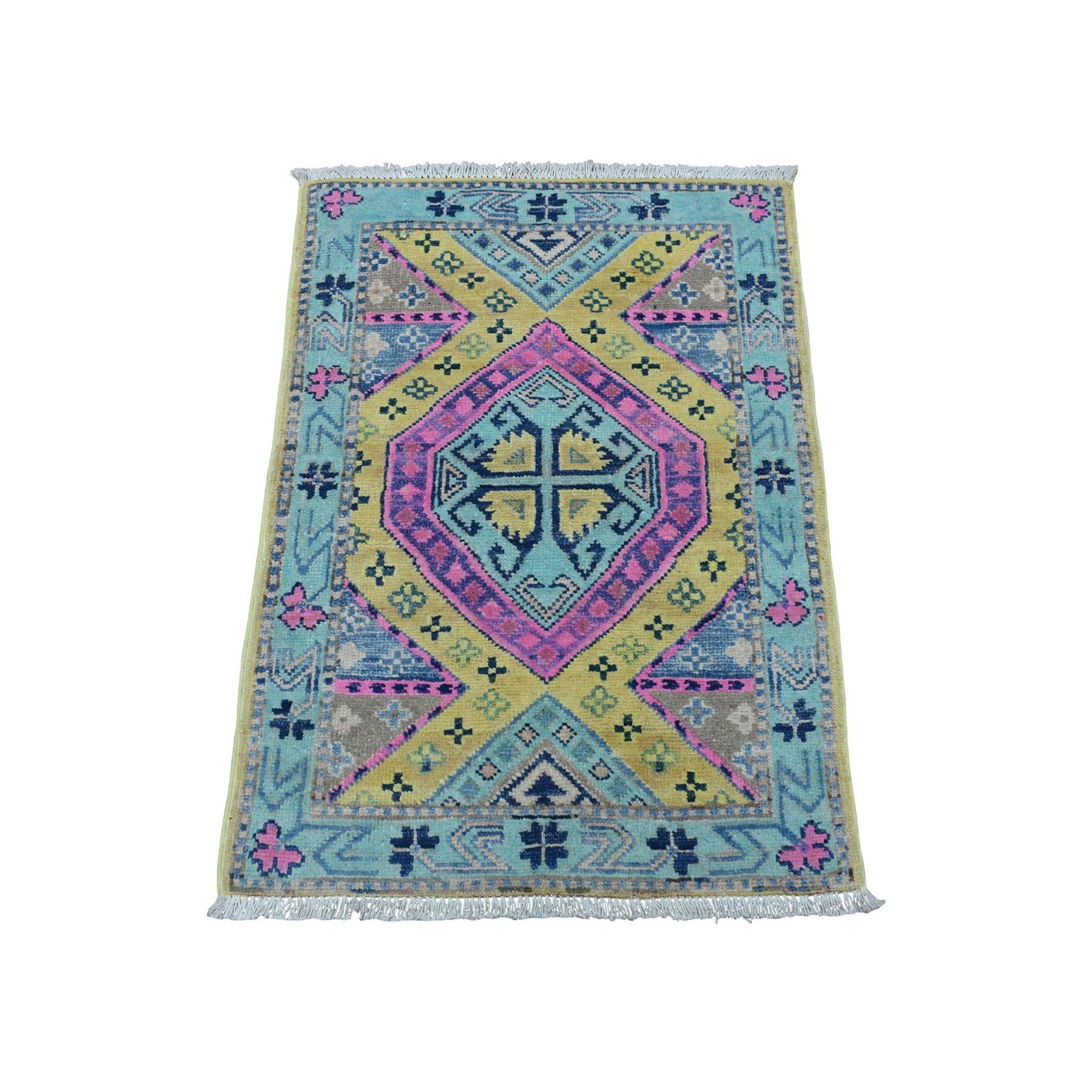 "2'x2'9"" Gold Fusion Kazak Pure Wool Geometric Design hand Knotted Oriental Rug"