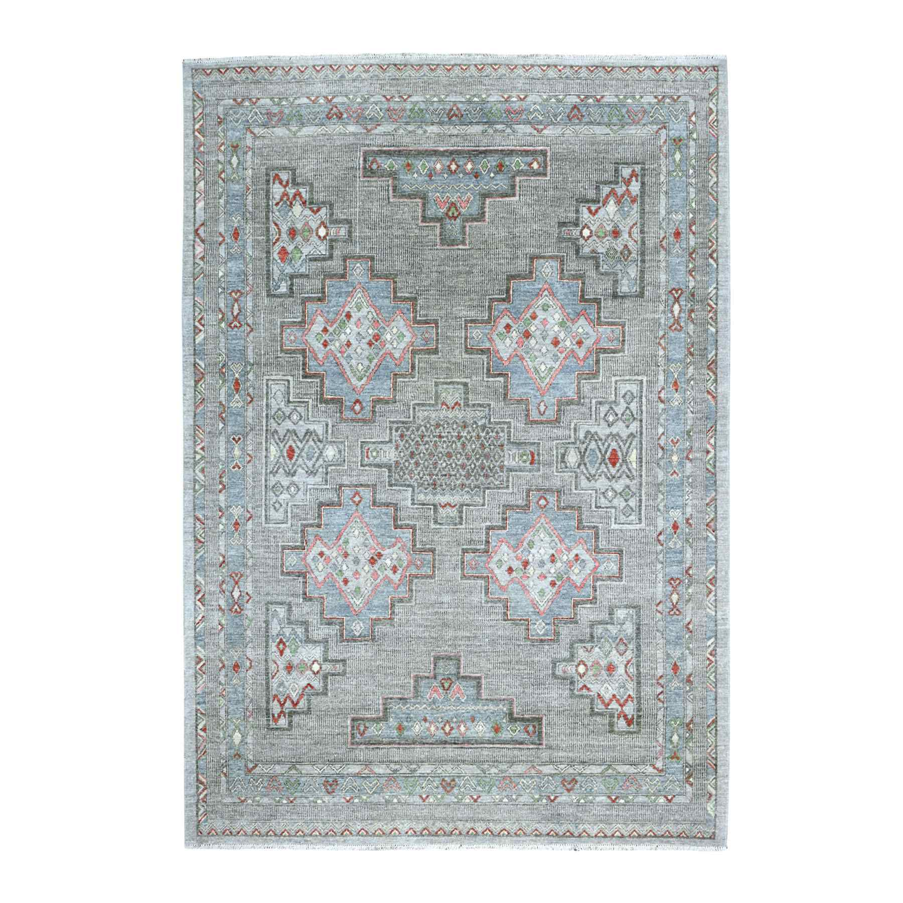 """6'X8'6"""" Peshawar With Berber Motifs, Pop Of Color Pure Wool Hand Knotted Oriental Rug moaed99e"""