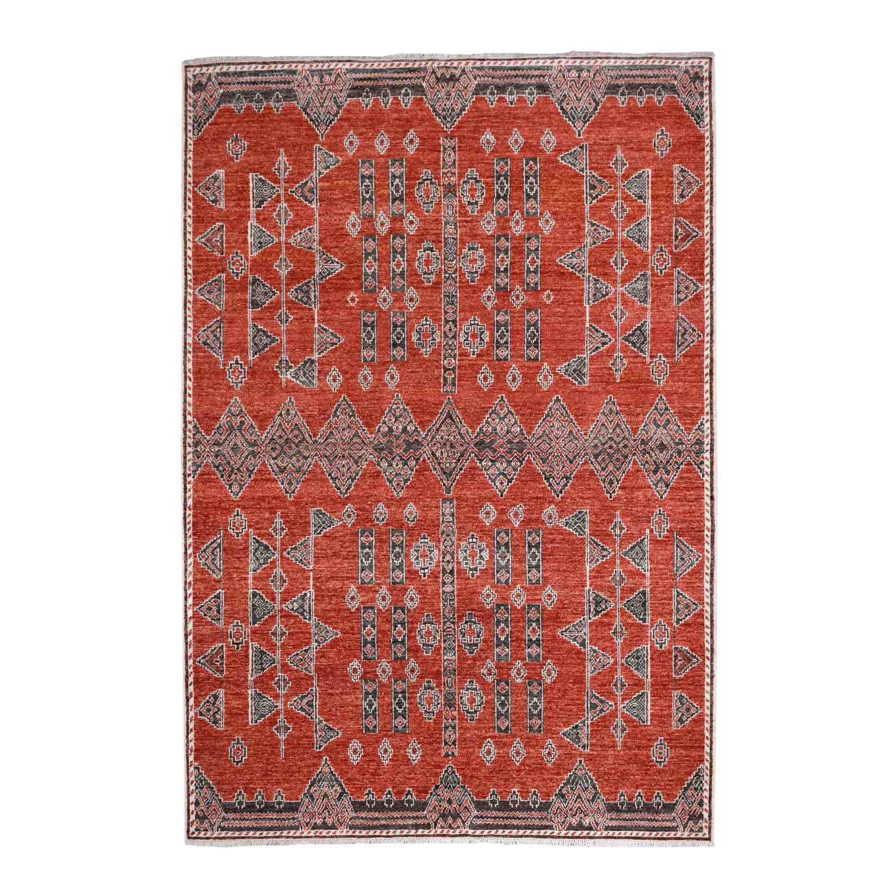 """6'1""""X8'7"""" Rust Red Natural Wool Peshawar Berber Motifs Hand Knotted Oriental Rug moaed997"""