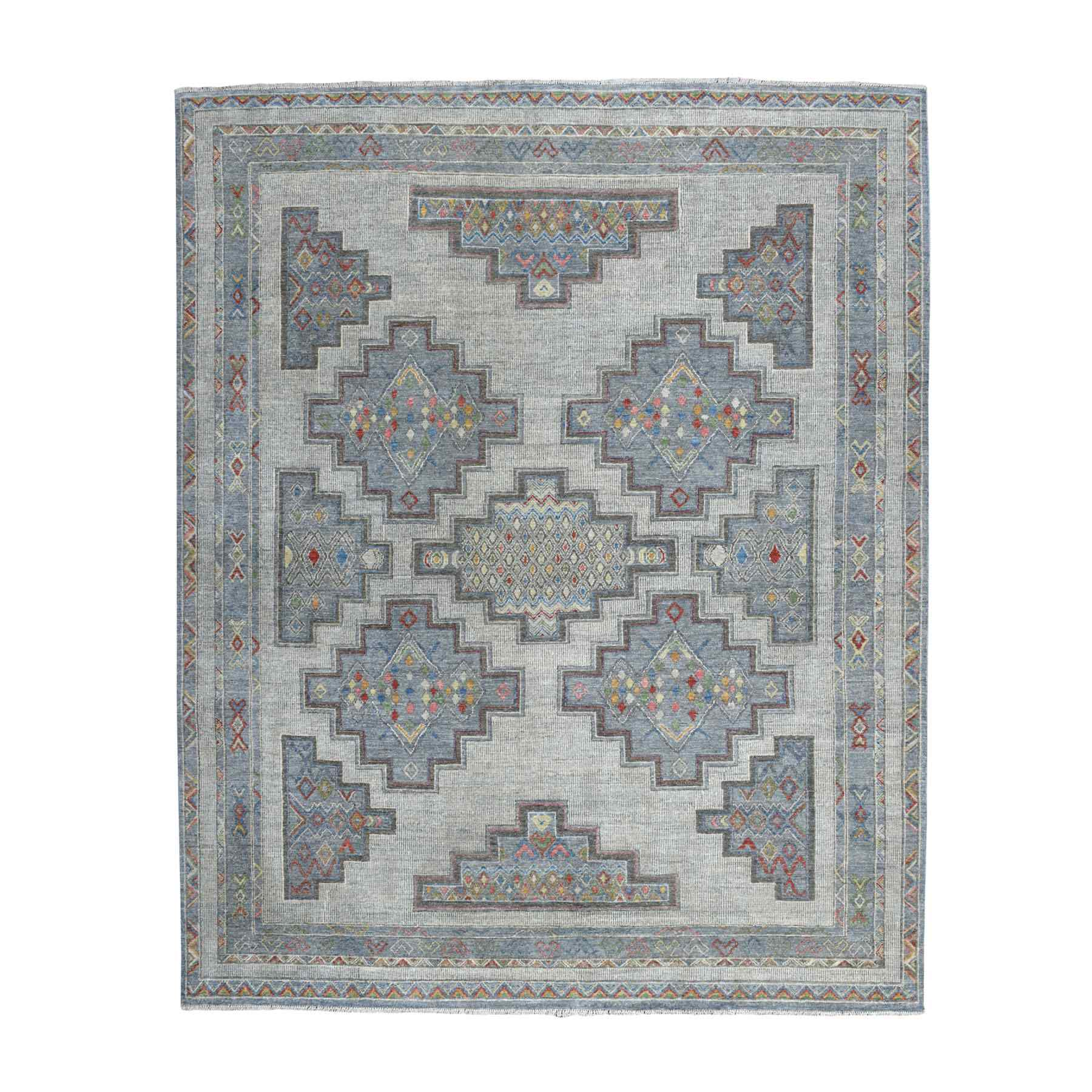 """8'1""""X9'7"""" Peshawar With Berber Motifs Natural Wool Hand Knotted Oriental Rug moaed999"""