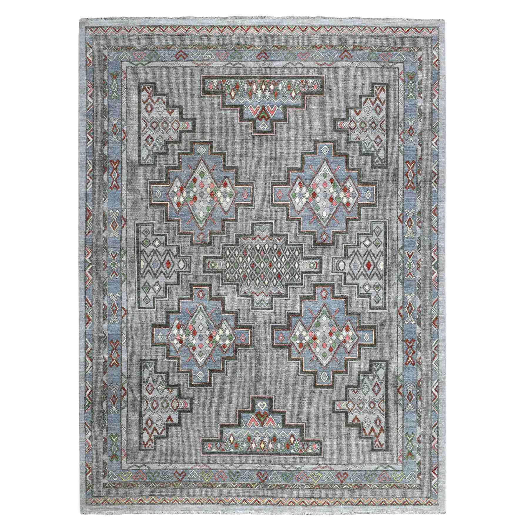 """9'X11'2"""" Peshawar With Berber Motifs Natural Wool Hand Knotted Oriental Rug moaee00a"""