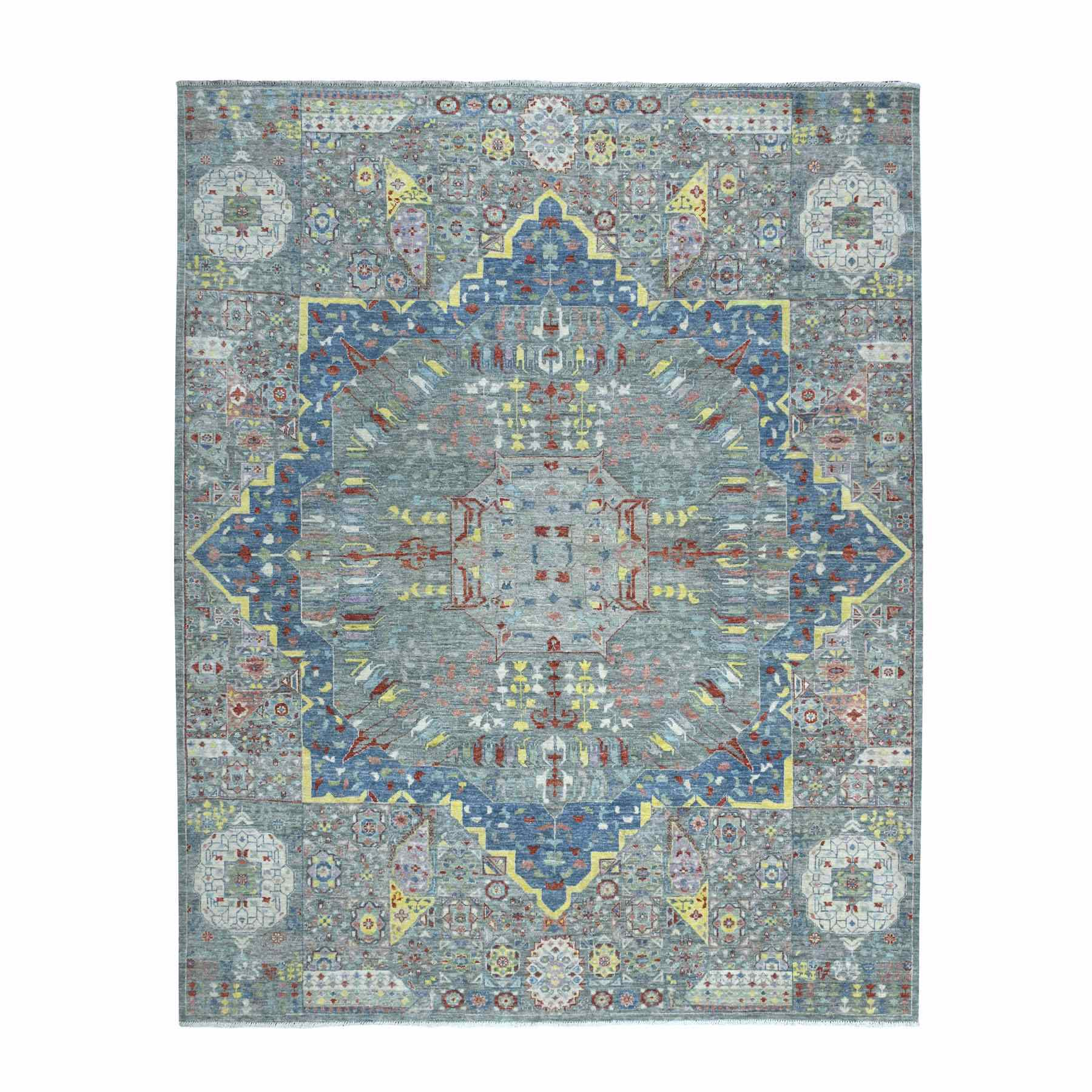 """8'1""""x9'8"""" Peshawar With Colorful Mamluk Design Afghan Wool Hand Knotted Oriental Rug"""