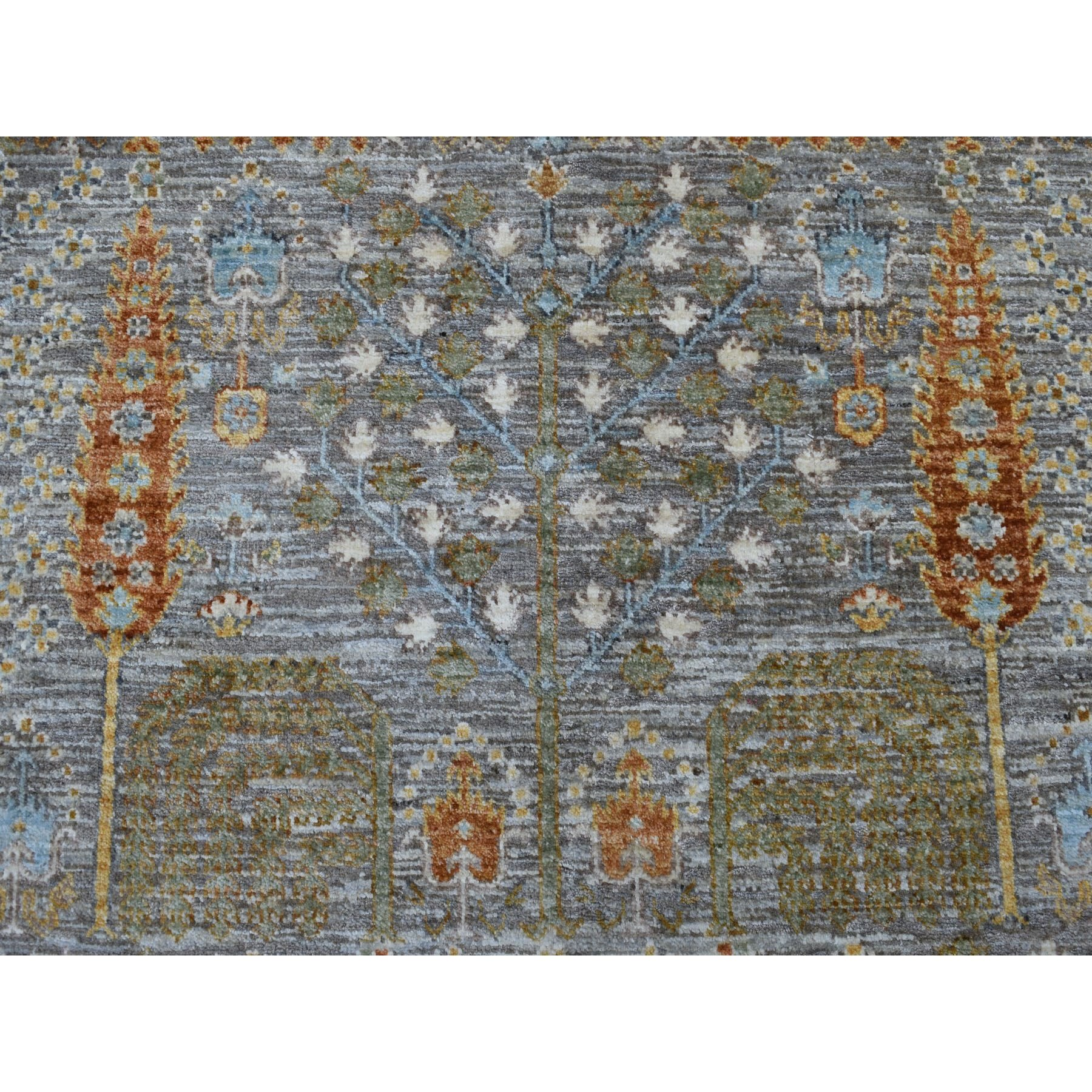 8'x10' Gray Willow and Cypress Tree Design Natural Wool Hand Knotted Oriental Rug