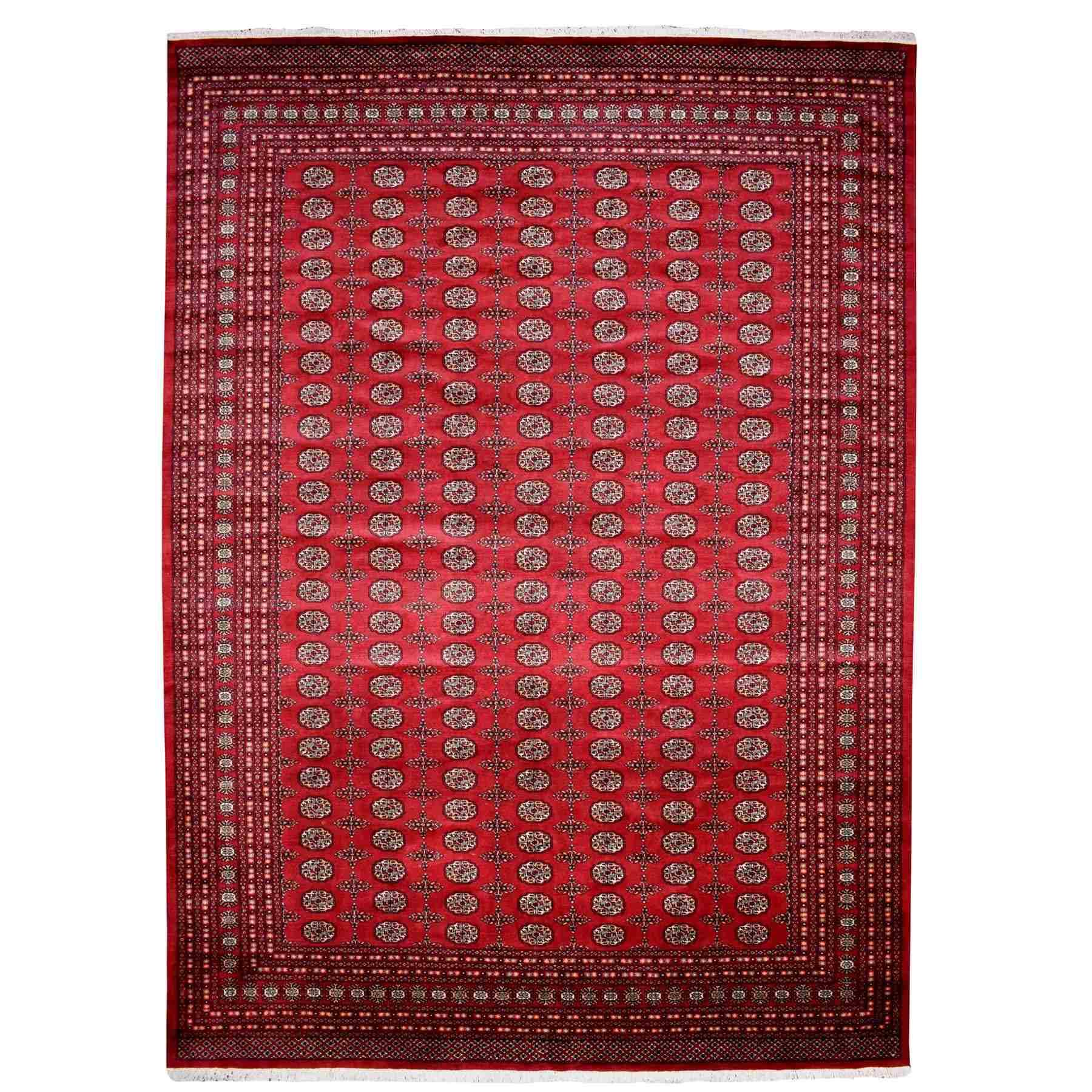 "10'X14'7"" Red Mori Bokara Elephant Feet Design Pure Wool Hand Knotted Oriental Rug moaee0cb"