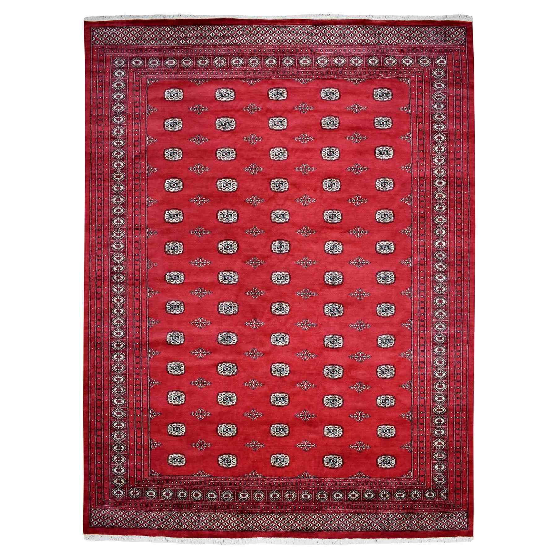 "10'3""X13'4"" Red Elephant Feet Design Mori Bokara Pure Wool Hand Knotted Oriental Rug moaee0cc"