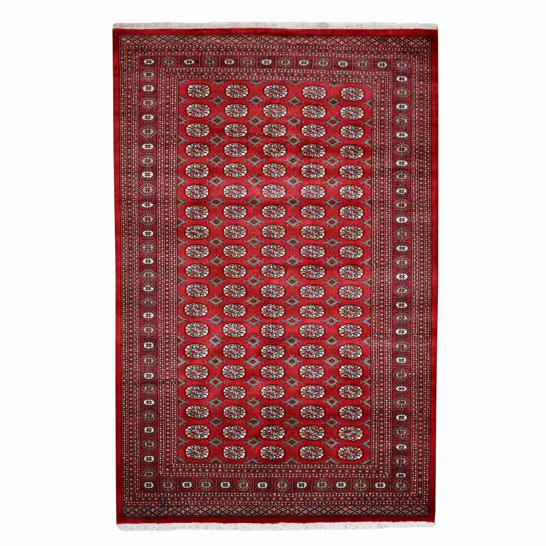 "6'2""x9'6"" Red Mori Bokara Elephant Feet Design Pure Wool Hand Knotted Oriental Rug 55037"