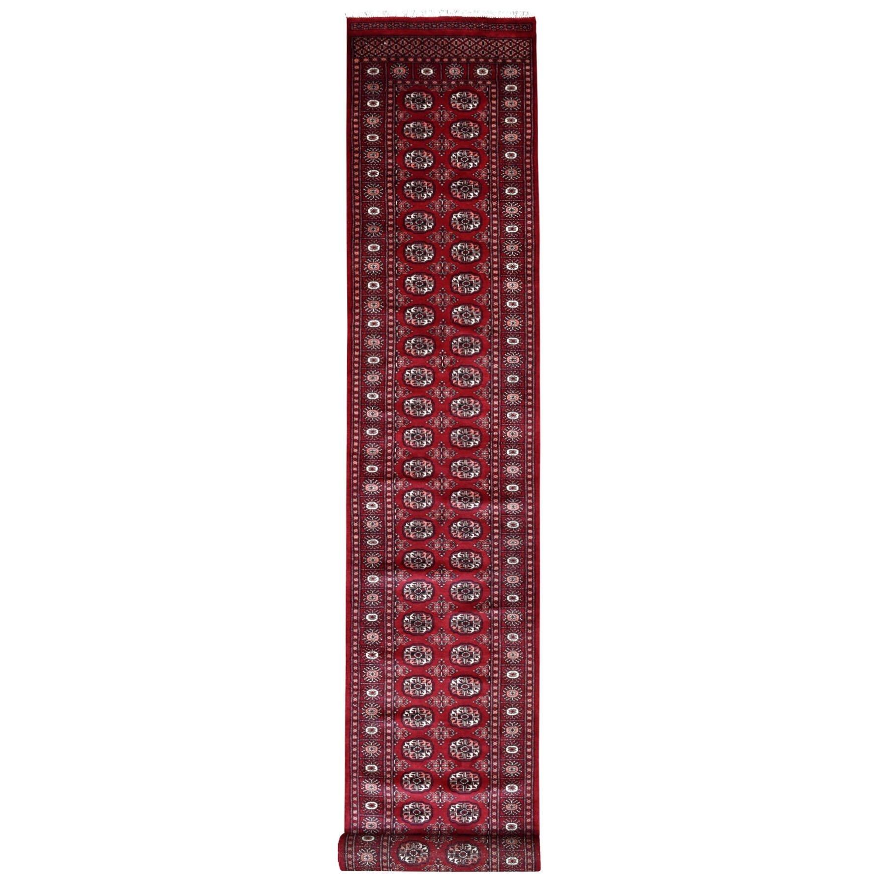 """2'7""""X19'10"""" Red Elephant Feet Design Mori Bokara Xl Runner Pure Wool Hand Knotted Oriental Rug moaee0d0"""