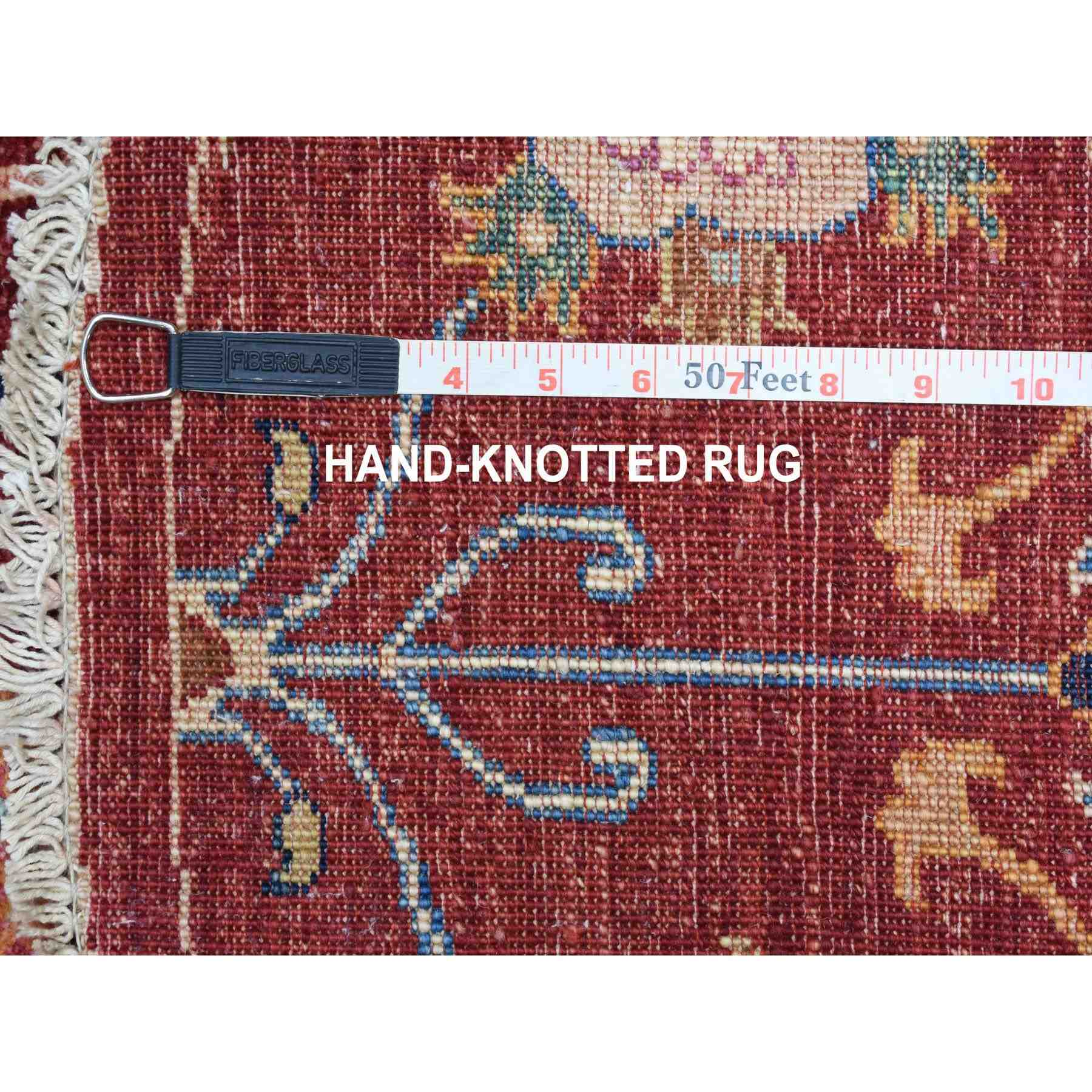"3'9""x3'9"" Colorful Round Peshawar Natural Wool Hand Knotted Oriental Rug"
