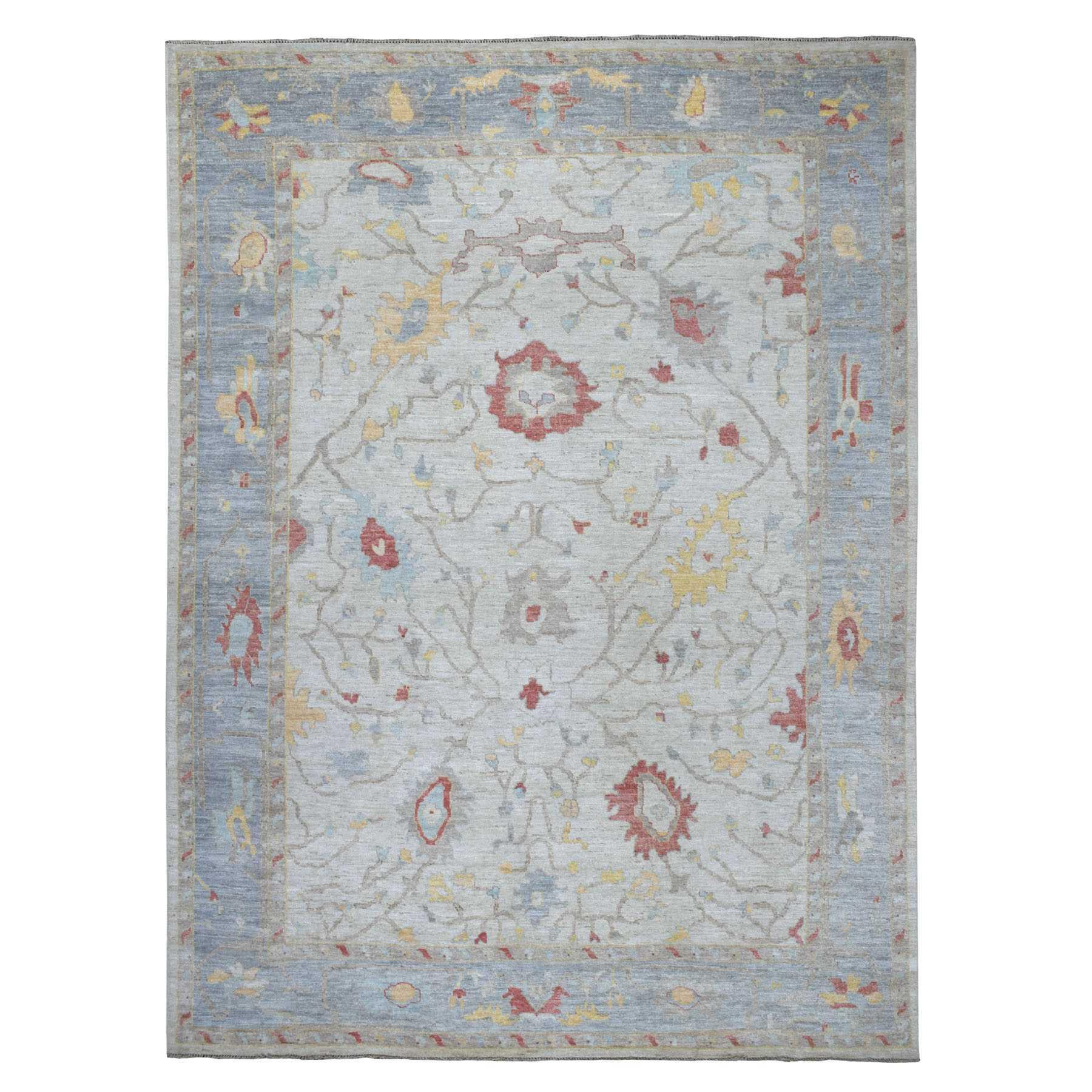 "9'9""X13' Ivory Angora Oushak With Soft Velvety Wool Hand Knotted Oriental Rug moaee080"