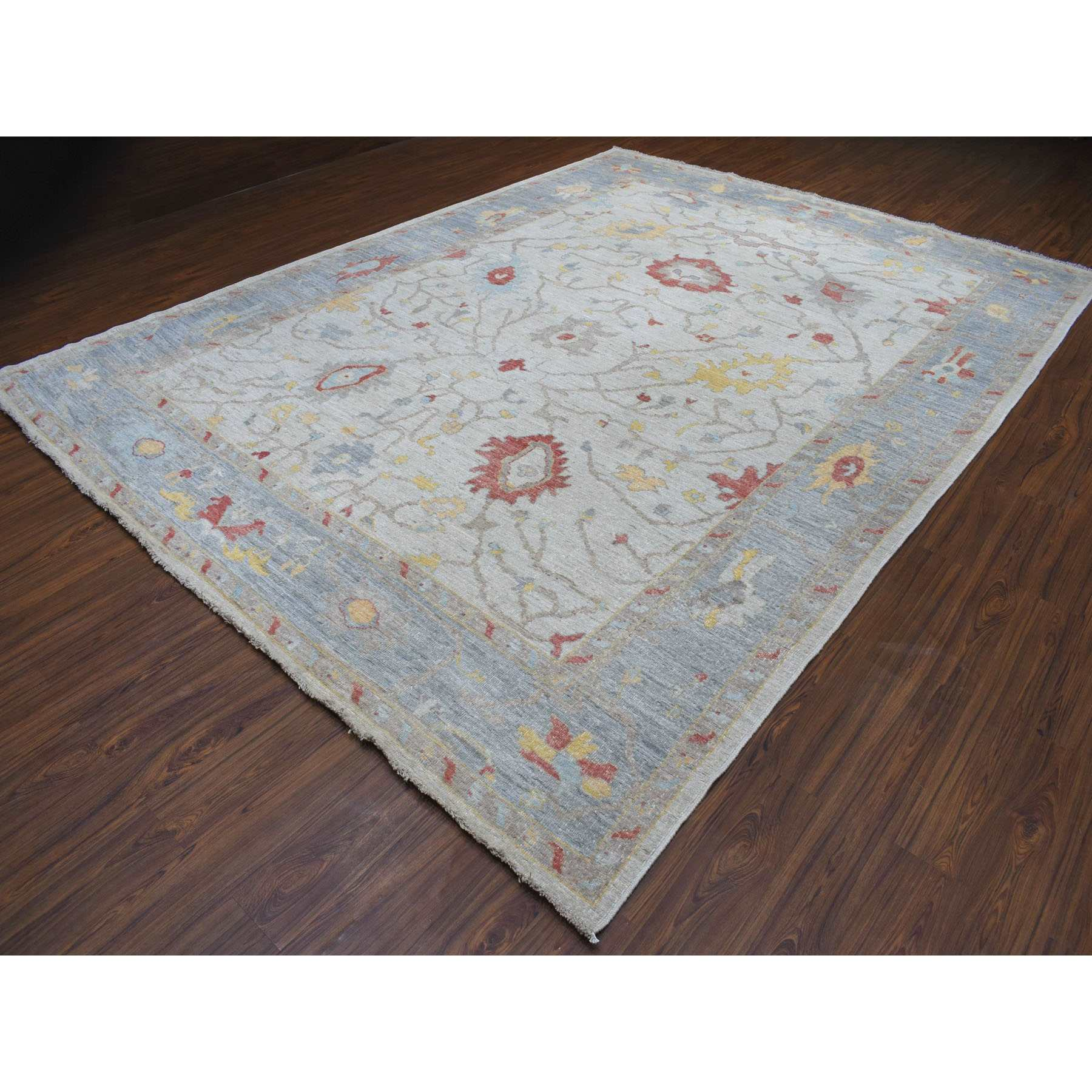 """9'9""""x13' Ivory Angora Oushak With Soft Velvety Wool Hand Knotted Oriental Rug"""