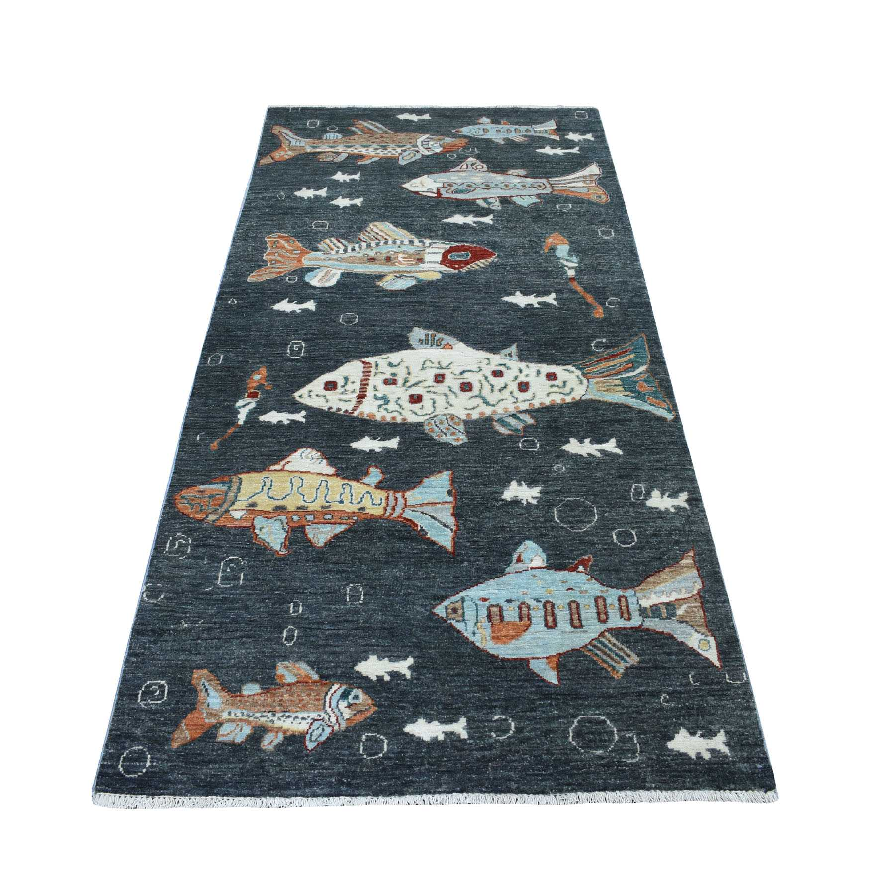 """3'7""""X7'1"""" Charcoal Black Oceanic Fish Design Peshawar Natural Wool Wide Runner Hand Knotted Oriental Rug moaee09c"""