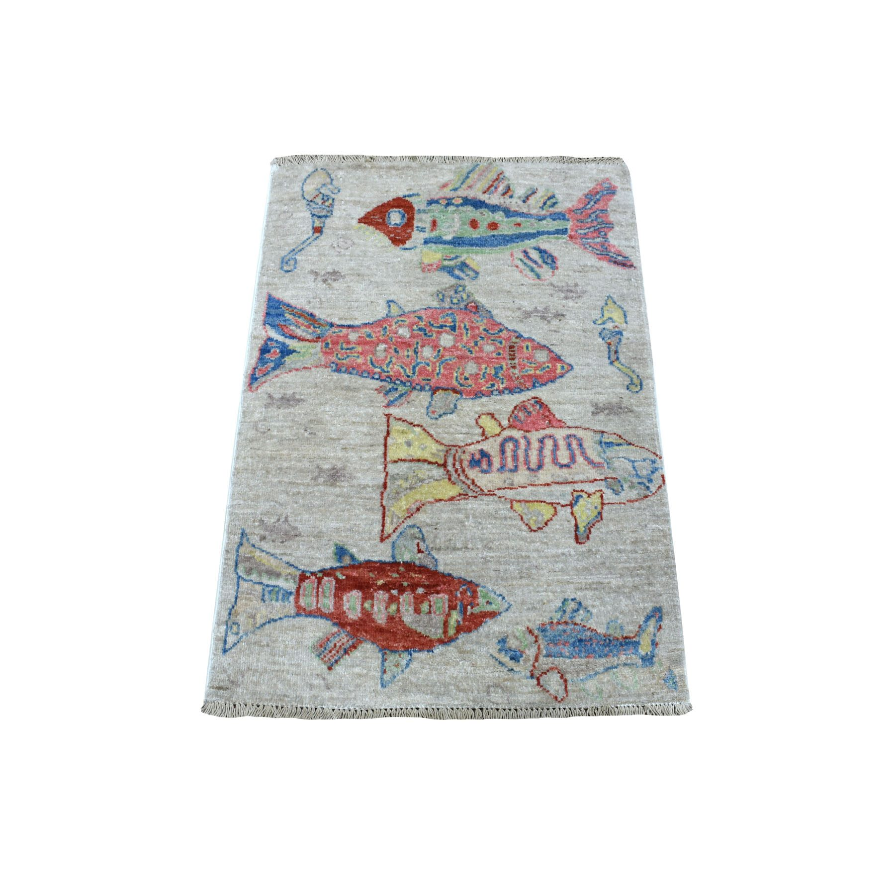 """2'X2'10"""" Oceanic Fish Design Natural Wool Afghan Peshawar Hand Knotted Oriental Rug moaee097"""