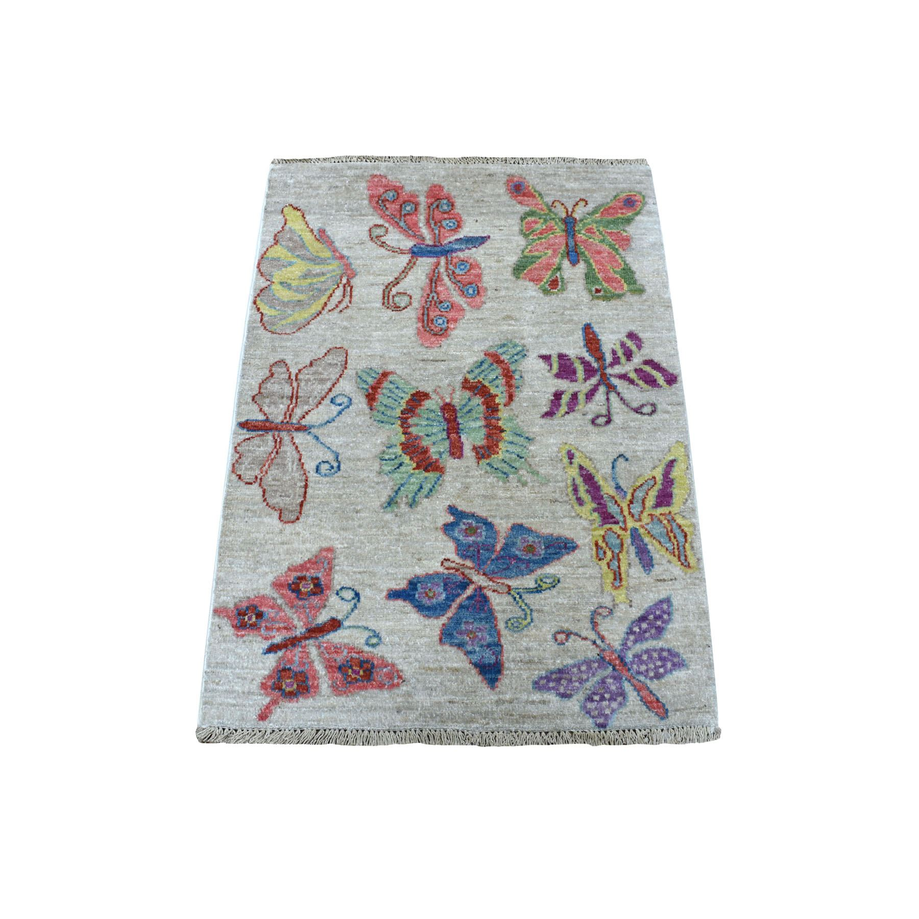 """2'1""""X2'10"""" Peshawar With Colorful Butterflies Design Natural Wool Hand Knotted Oriental Rug moaee098"""