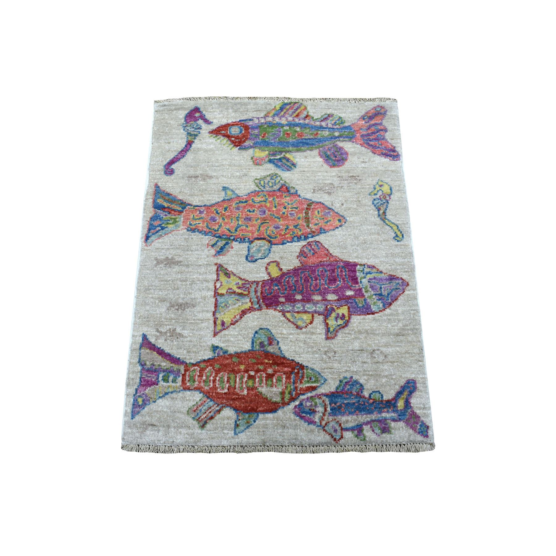 2'X3' Oceanic Fish Design Organic Wool Afghan Peshawar Hand Knotted Oriental Rug moaee099