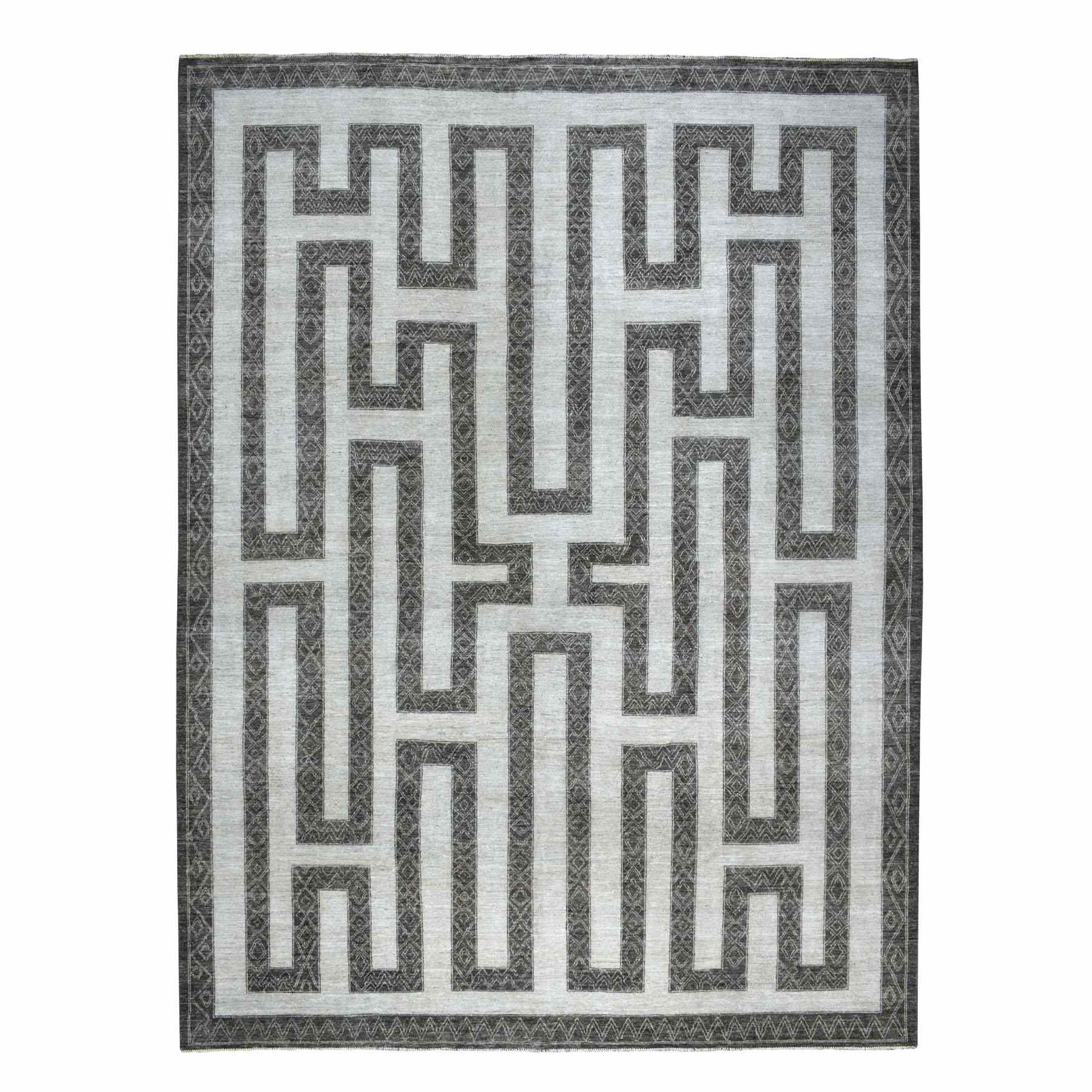 "10'x13'2"" Gray Pure Wool Maze Design With Berber Influence Hand Knotted Oriental Rug 55110"
