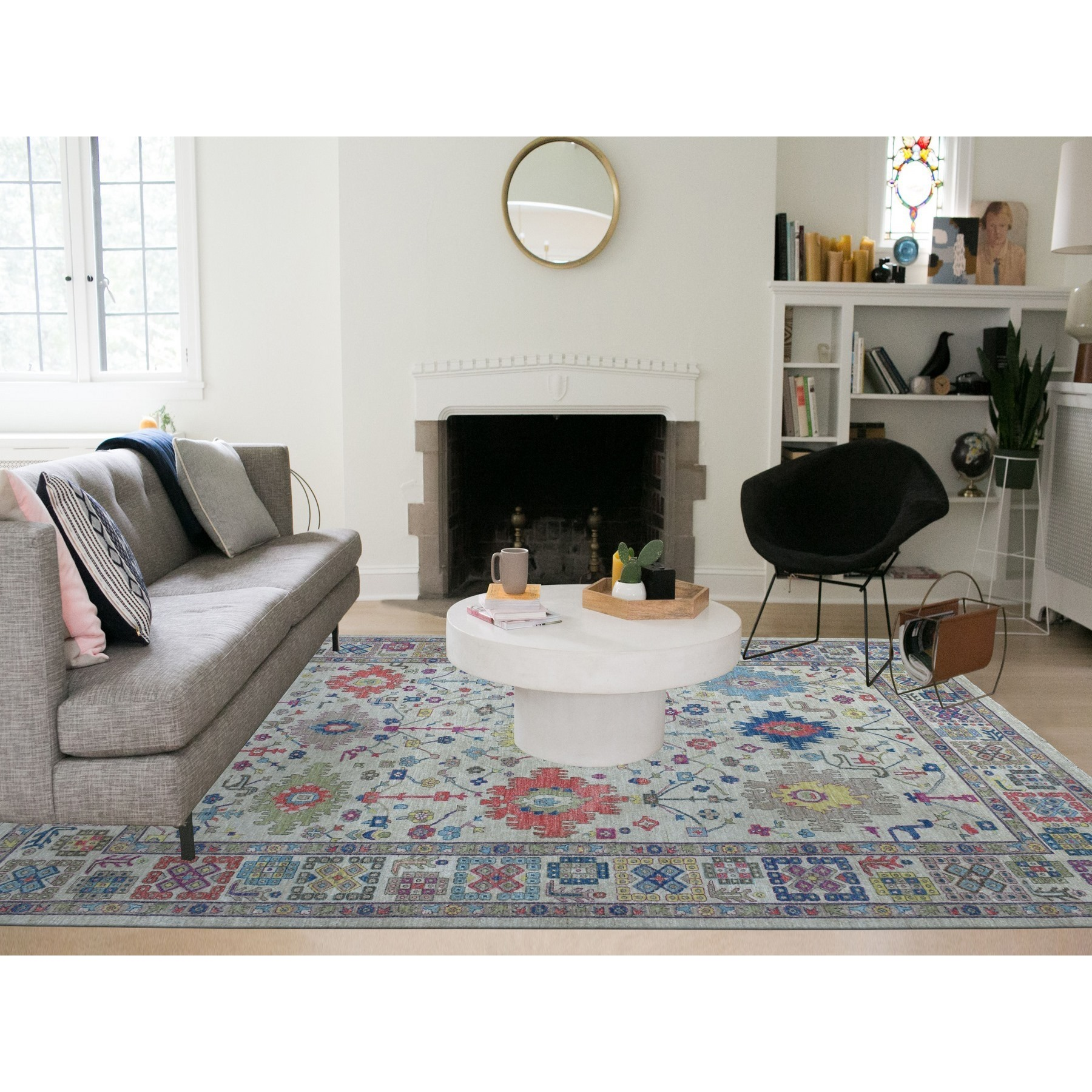 """9'x11'10"""" Gray Peshawar With Large Elements Natural Wool Hand Knotted Oriental Rug"""