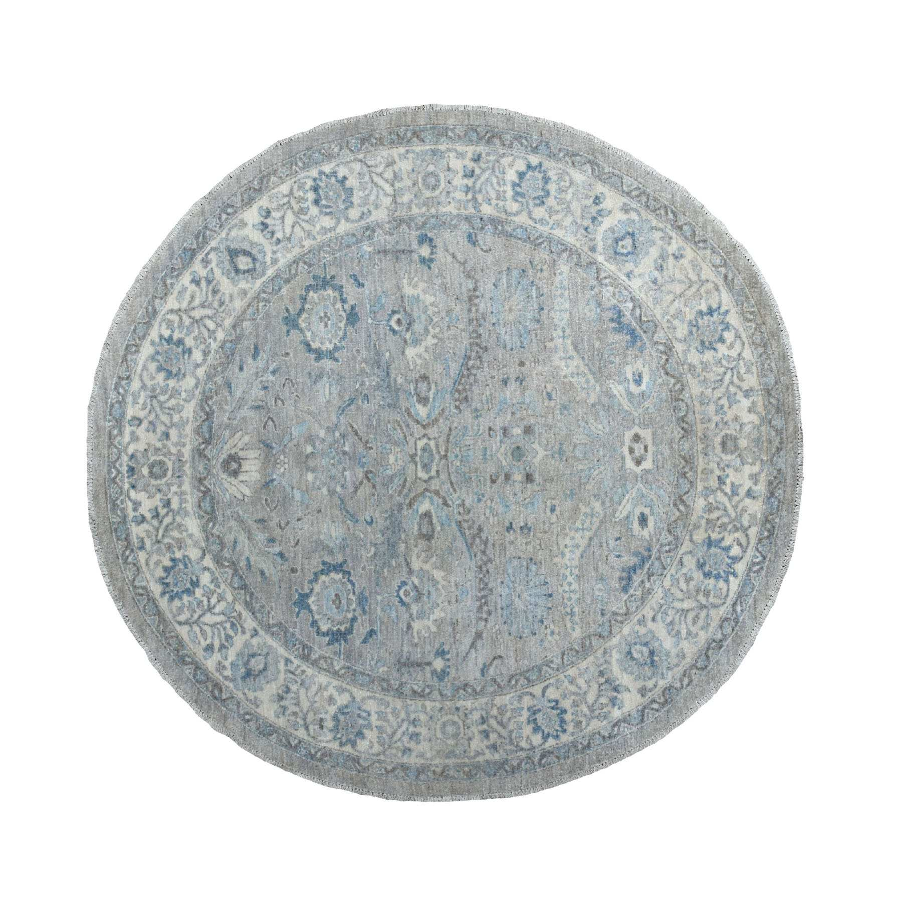 6'X6' Gray Afghan Peshawar Ziegler Mahal Design Natural Wool Hand Knotted Round Oriental Rug moaeeabd