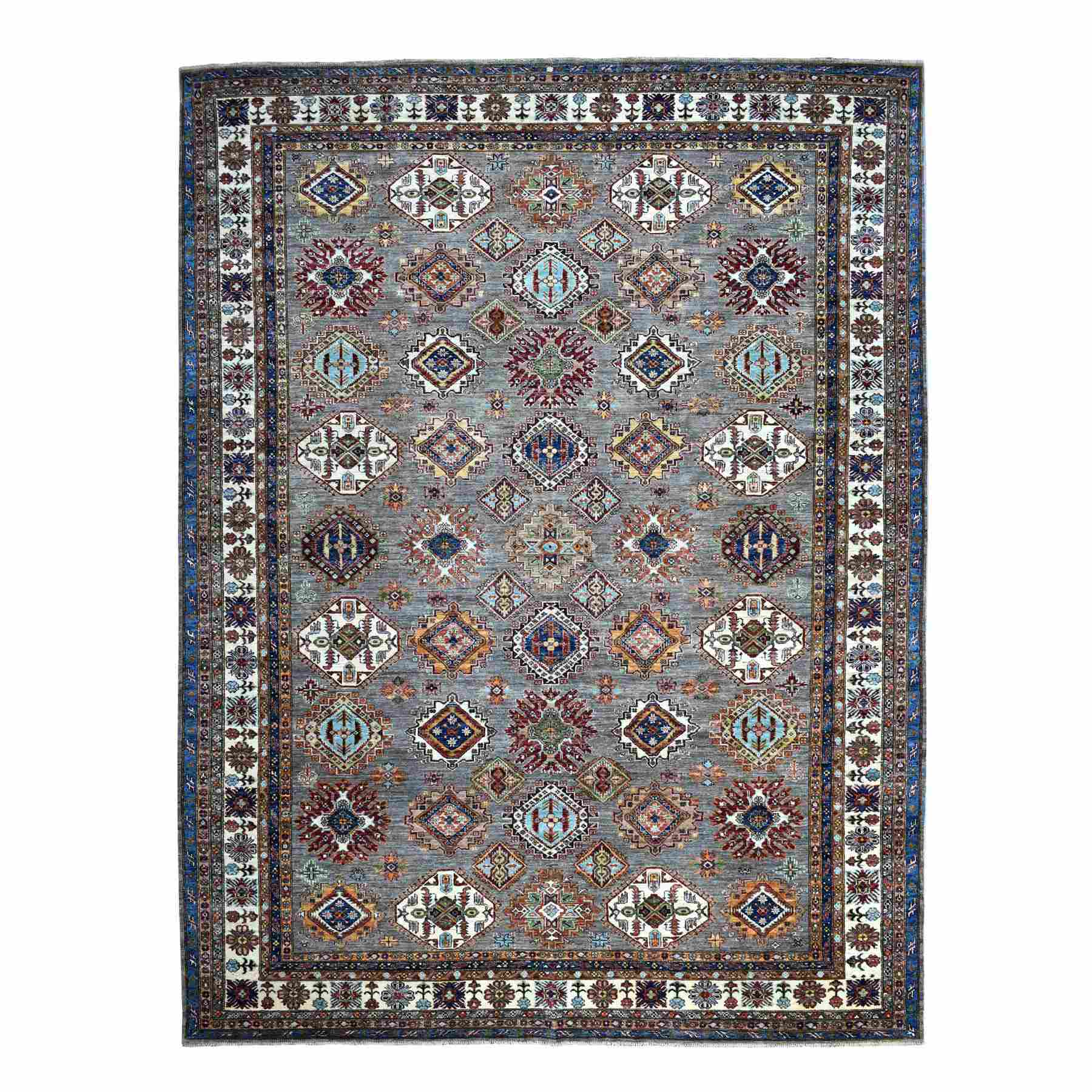 "10'x13'2"" Taupe Gray Afghan Wool Super Kazak Geometric Design Hand Knotted Oriental Rug"