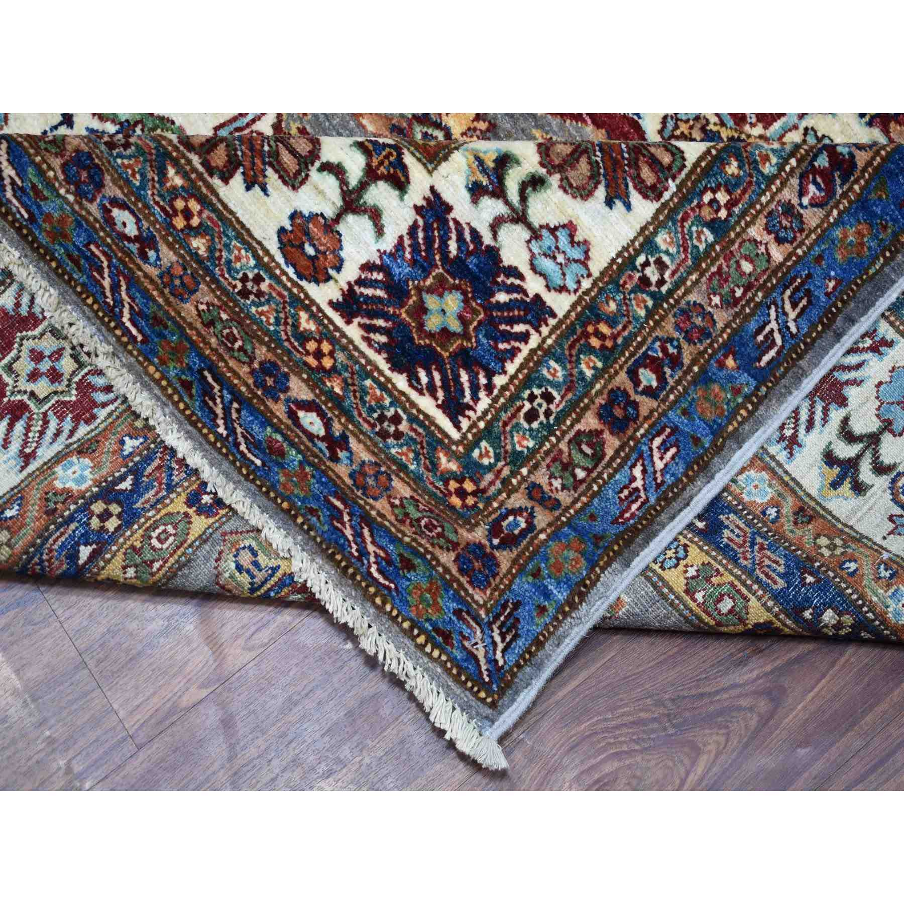 "10'x13'2"" Taupe Gray Afghan Wool Super Kazak Geometric Design Hand Knotted Oriental Rug"
