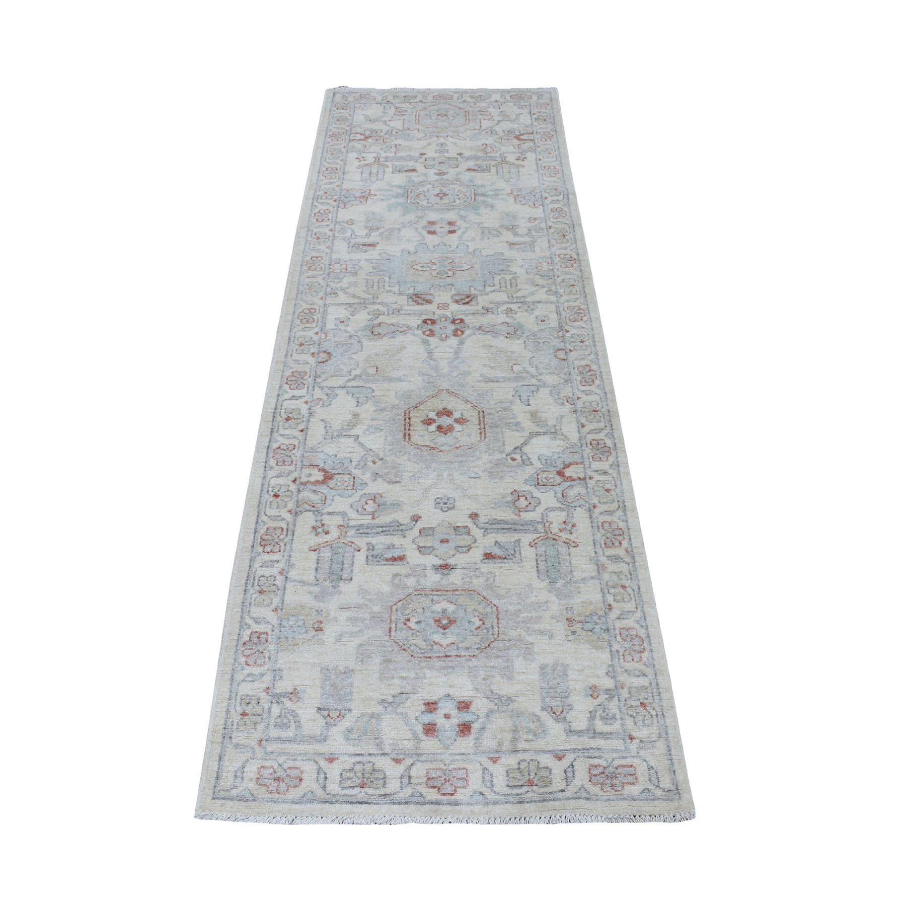 """2'6""""X7'8"""" Ivory Washed Out Peshawar 100% Wool Hand Knotted Runner Oriental Rug moaeeacd"""