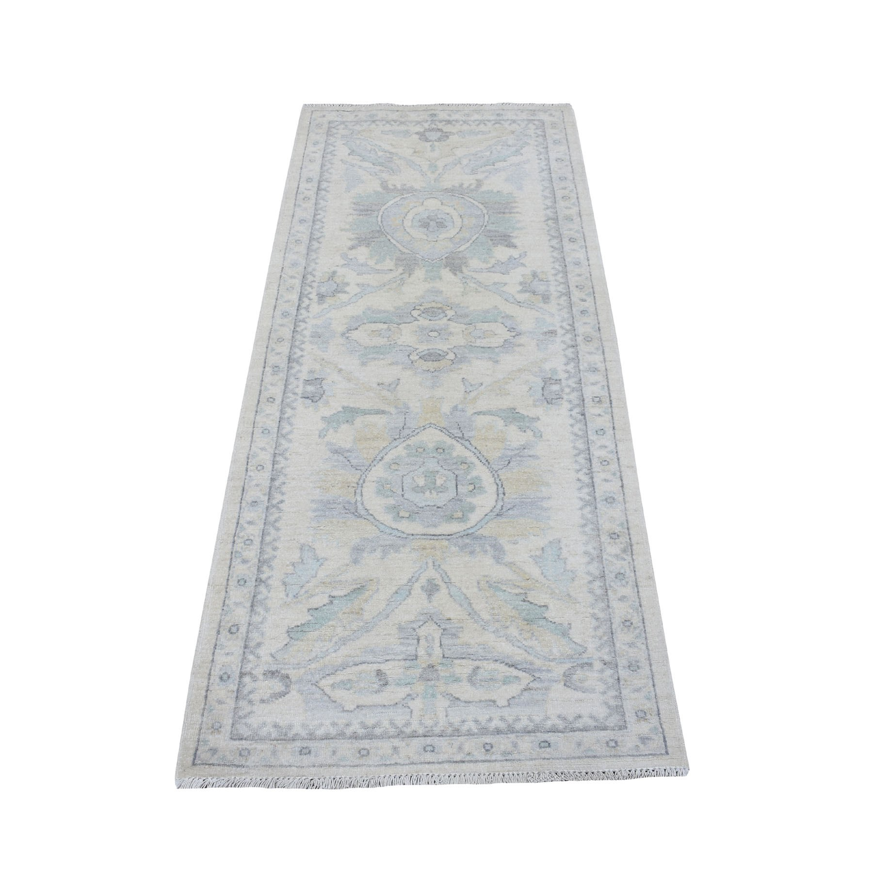 """2'6""""X5'10"""" Ivory Washed Out Peshawar 100% Wool Hand Knotted Runner Oriental Rug moaeeac6"""