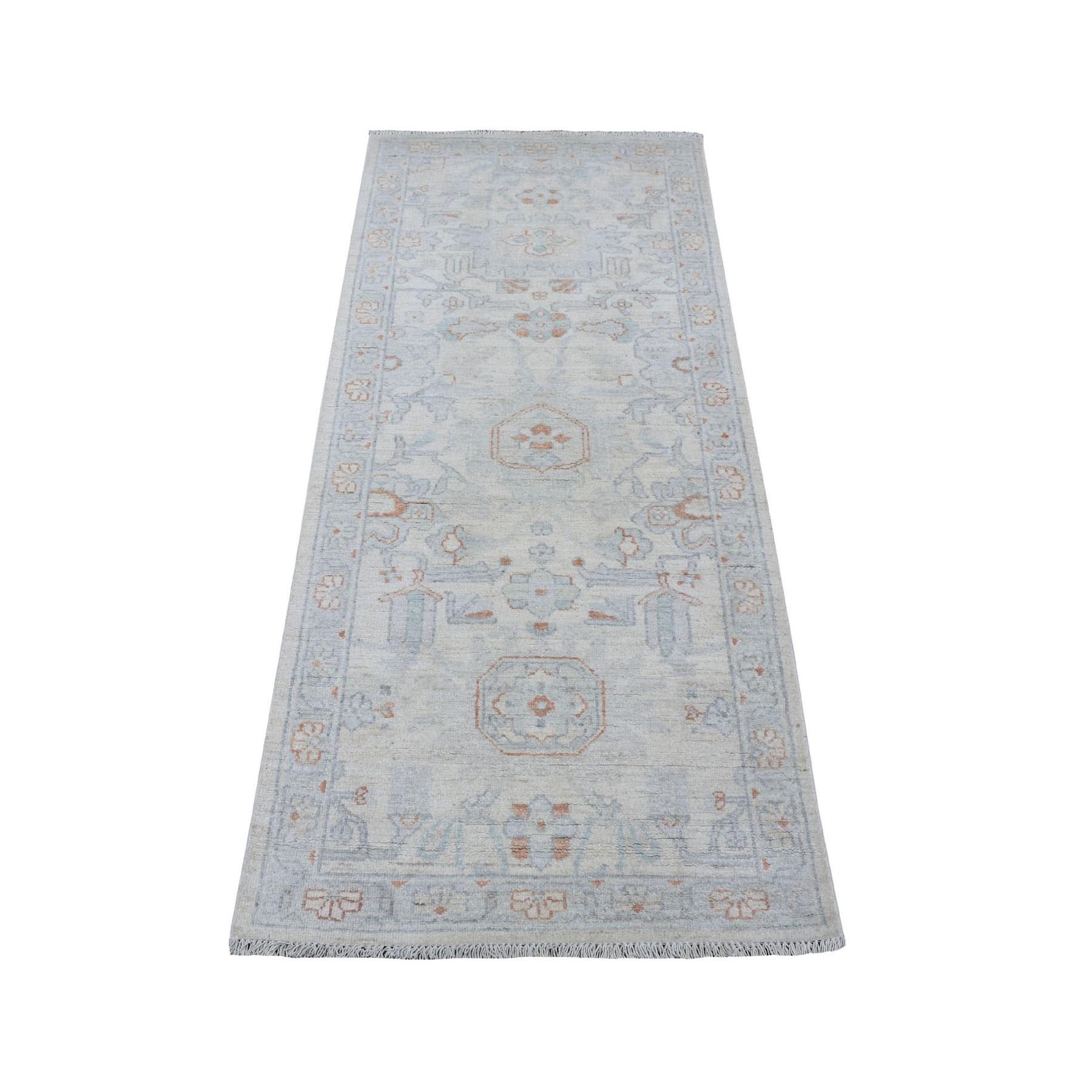 "2'5""X5'10"" White Wash Peshawar Organic Wool Hand Knotted Runner Oriental Rug moaeeac7"