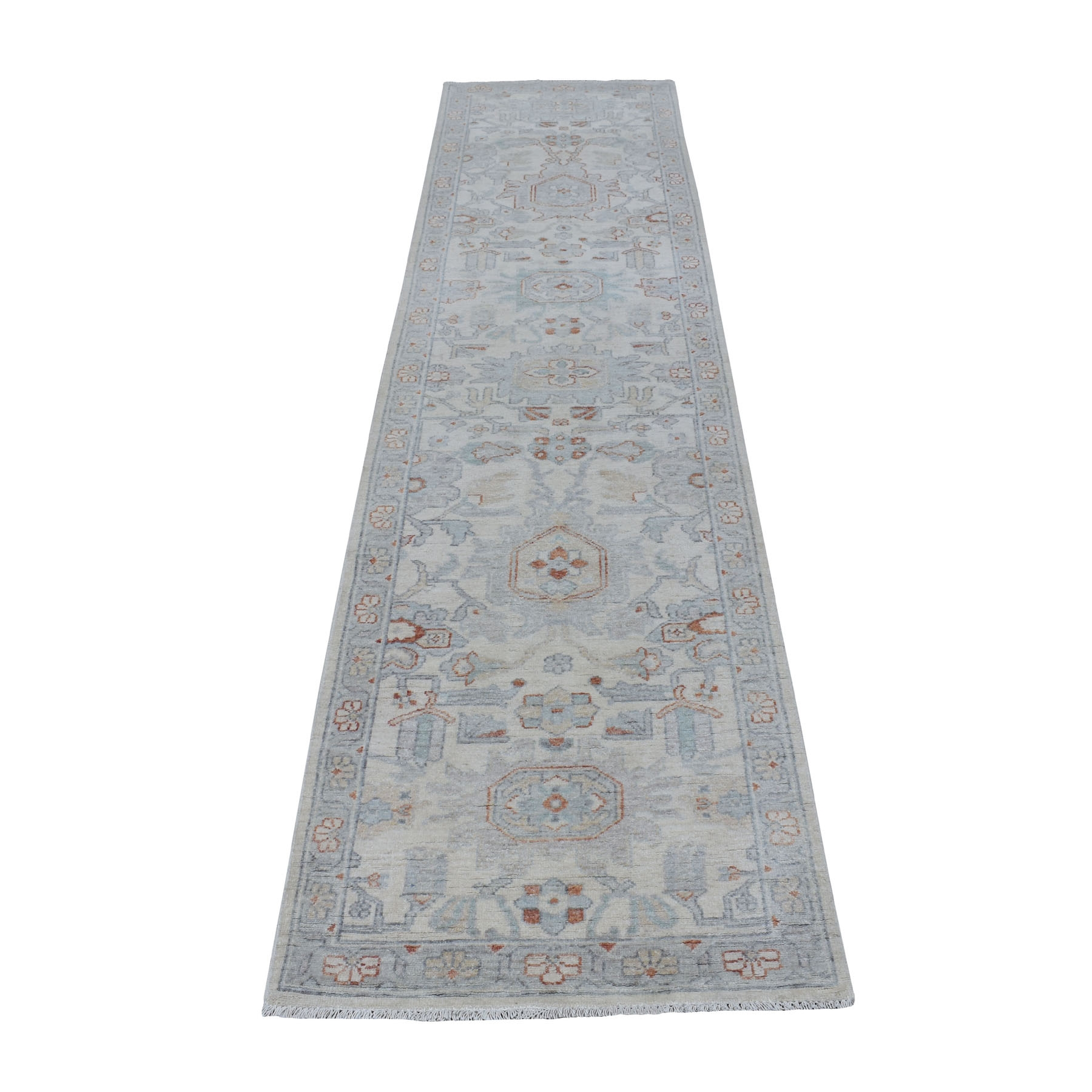 """2'5""""X9'10"""" Ivory Washed Out Peshawar Organic Wool Hand Knotted Runner Oriental Rug moaeeac9"""