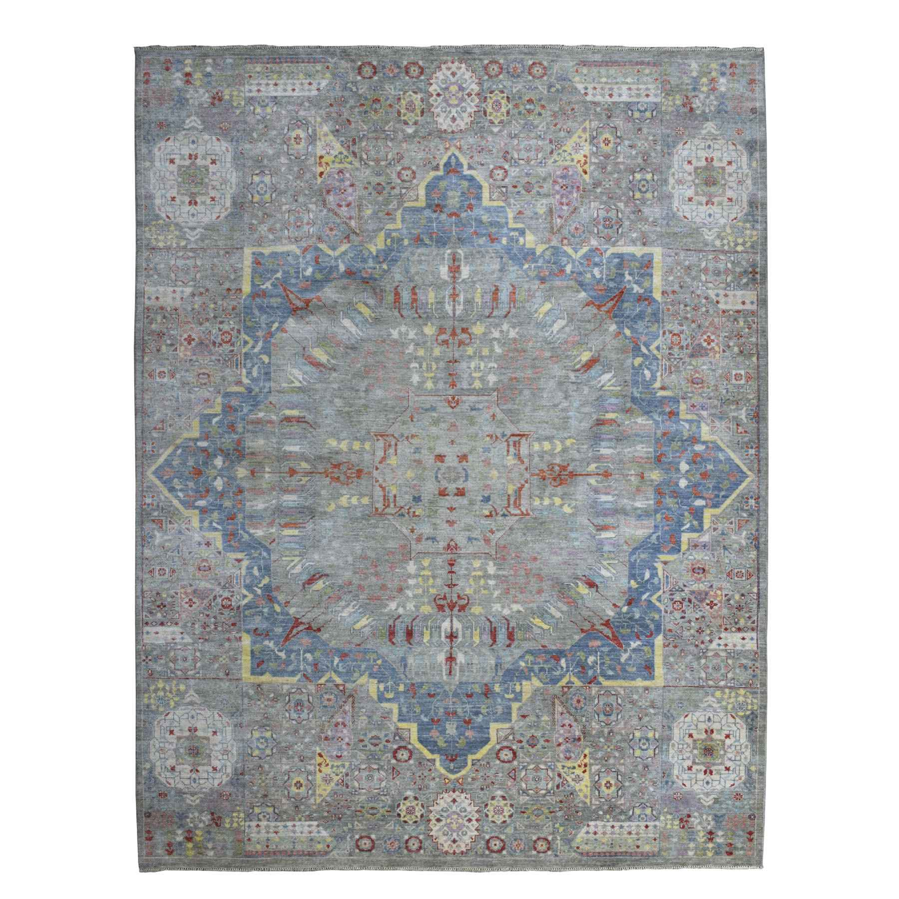 """9'2""""x11'10"""" Peshawar With Colorful Mamluk Design Afghan Wool Hand Knotted Oriental Rug"""