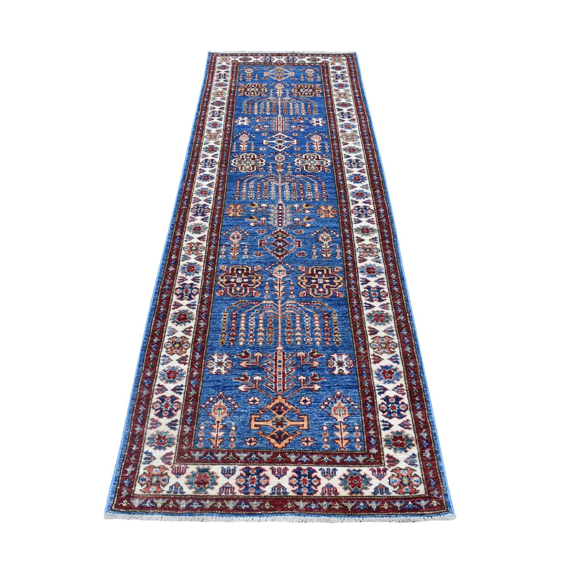 "2'9""X8'7"" Blue Afghan Super Kazak Runner Pure Wool Hand Knotted Oriental Rug moaeea78"