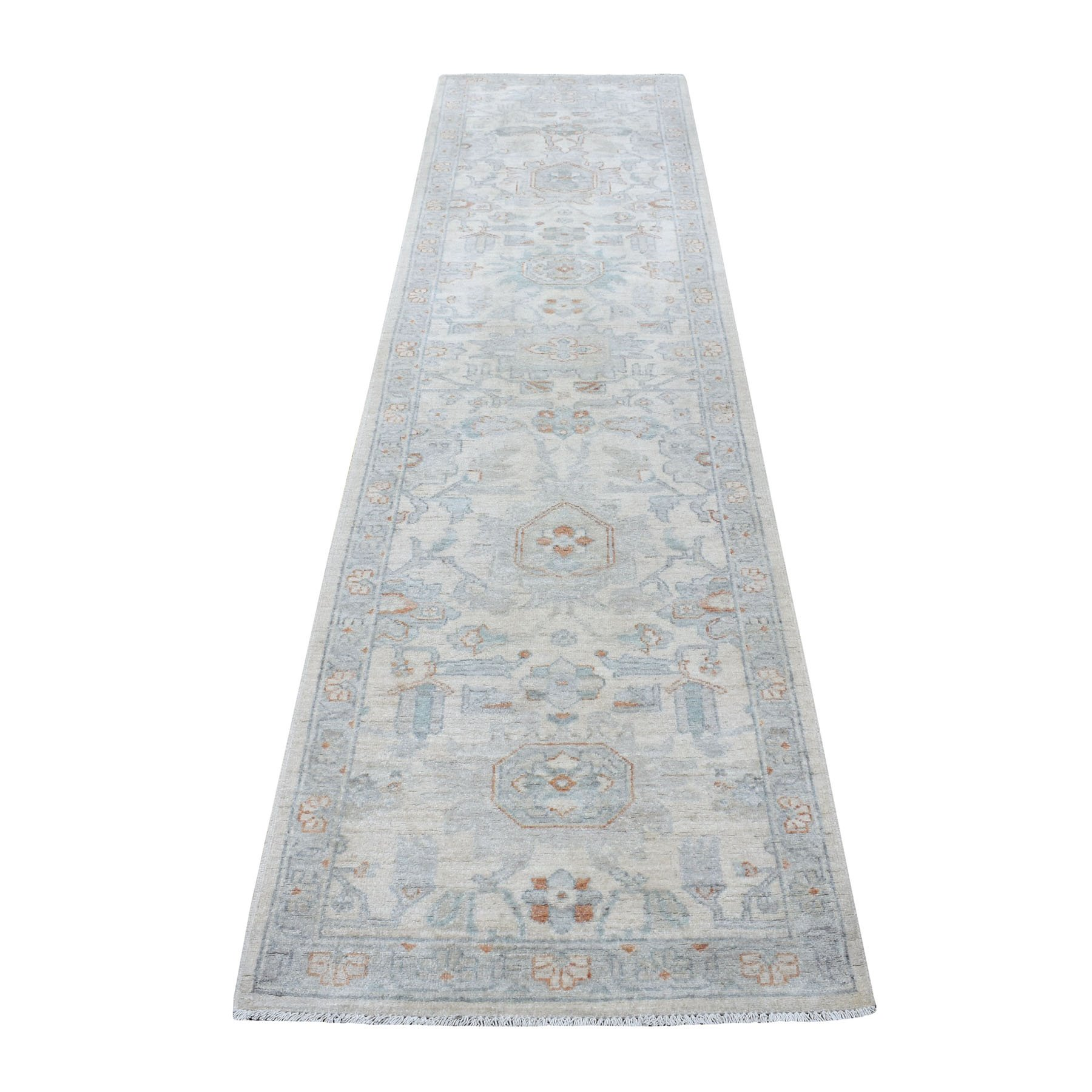 "2'6""X9'10"" Ivory Washed Out Peshawar 100% Wool Hand Knotted Runner Oriental Rug moaeea88"
