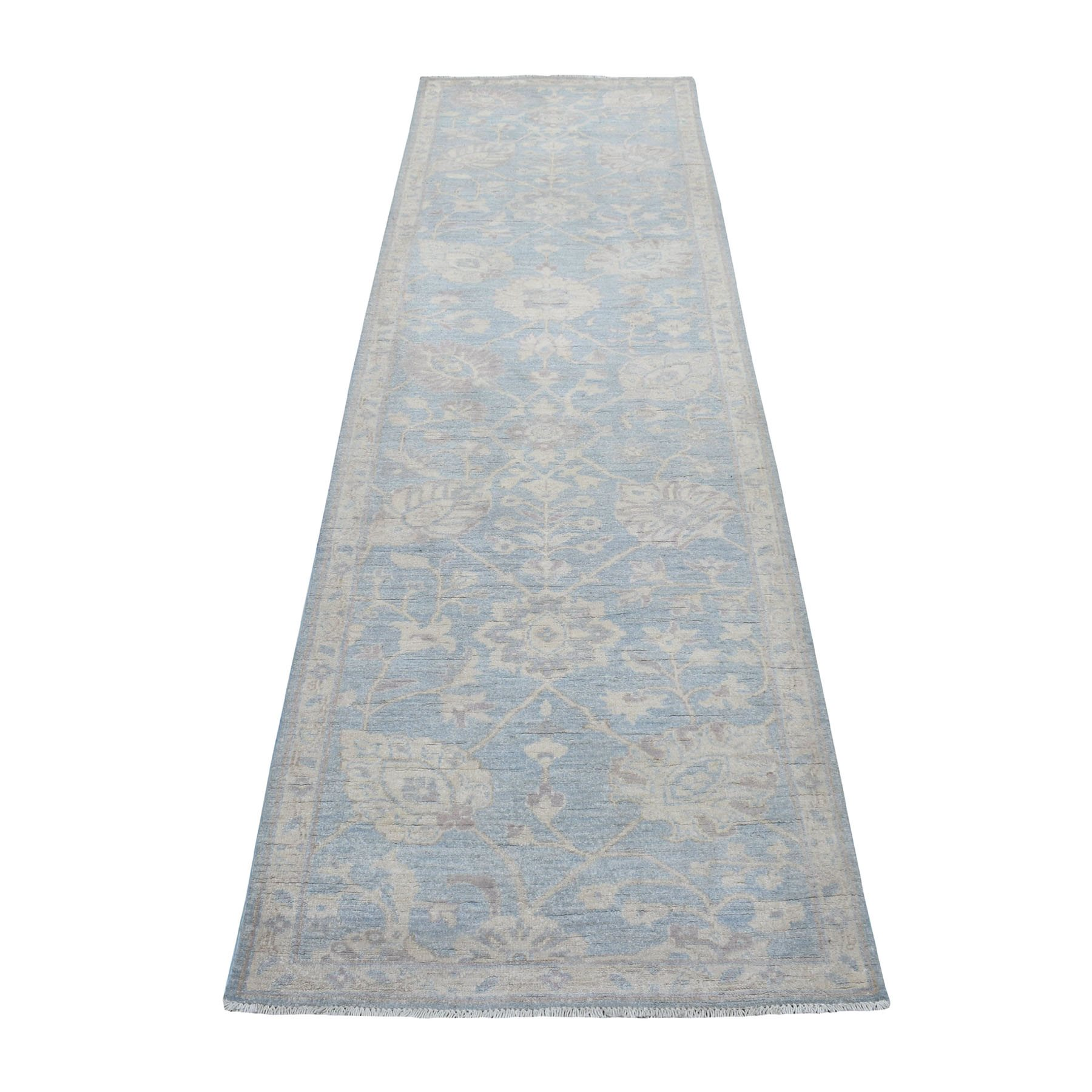 "2'8""X9'4"" Blue Stone Wash Peshawar Pure Wool Hand Knotted Runner Oriental Rug moaeea89"
