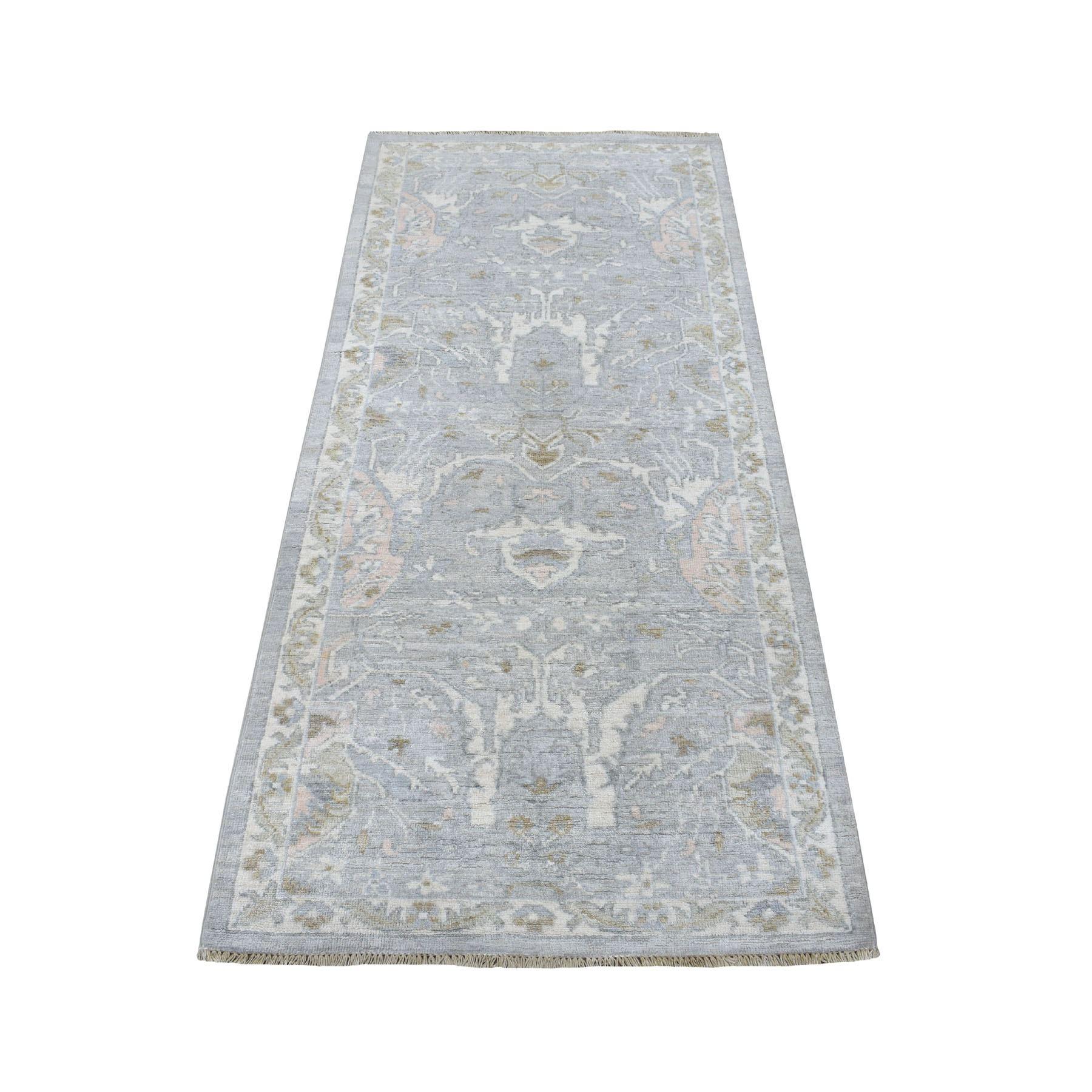 "2'9""X6'1"" Silver Wash Peshawar Organic Wool Hand Knotted Oriental Rug moaeea9b"