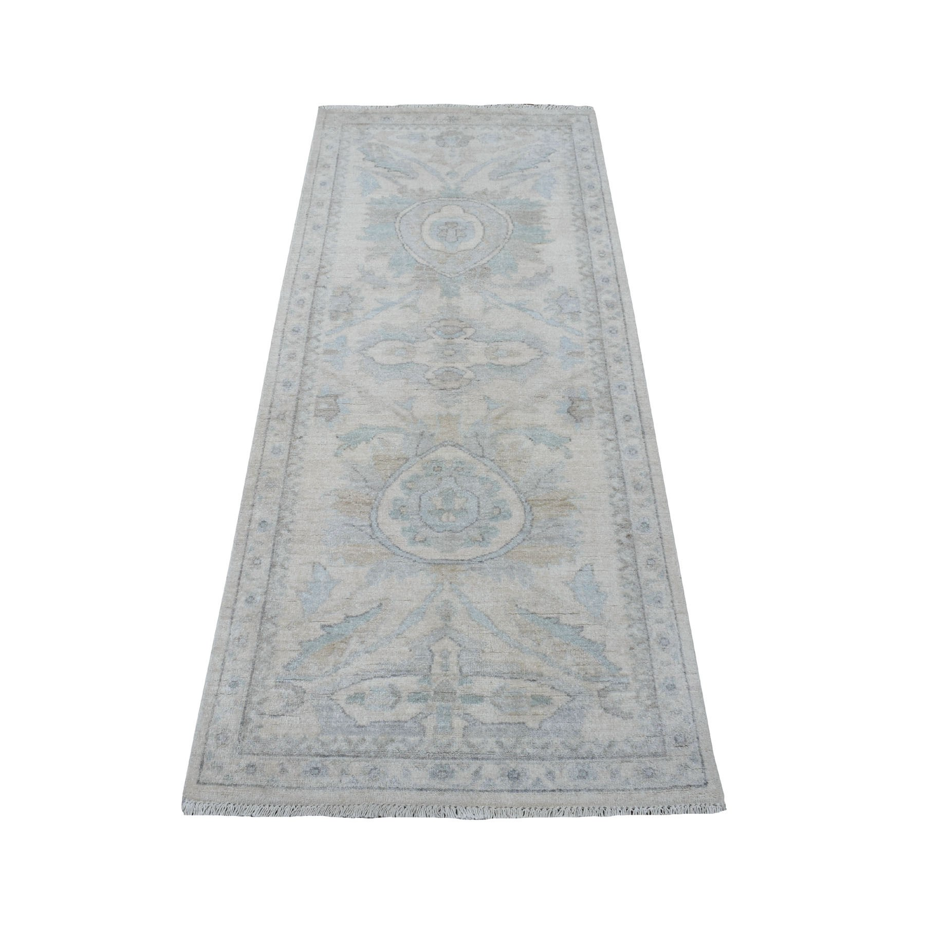 """2'6""""X5'10"""" White Wash Peshawar Pure Wool Hand Knotted Runner Oriental Rug moaeea9d"""