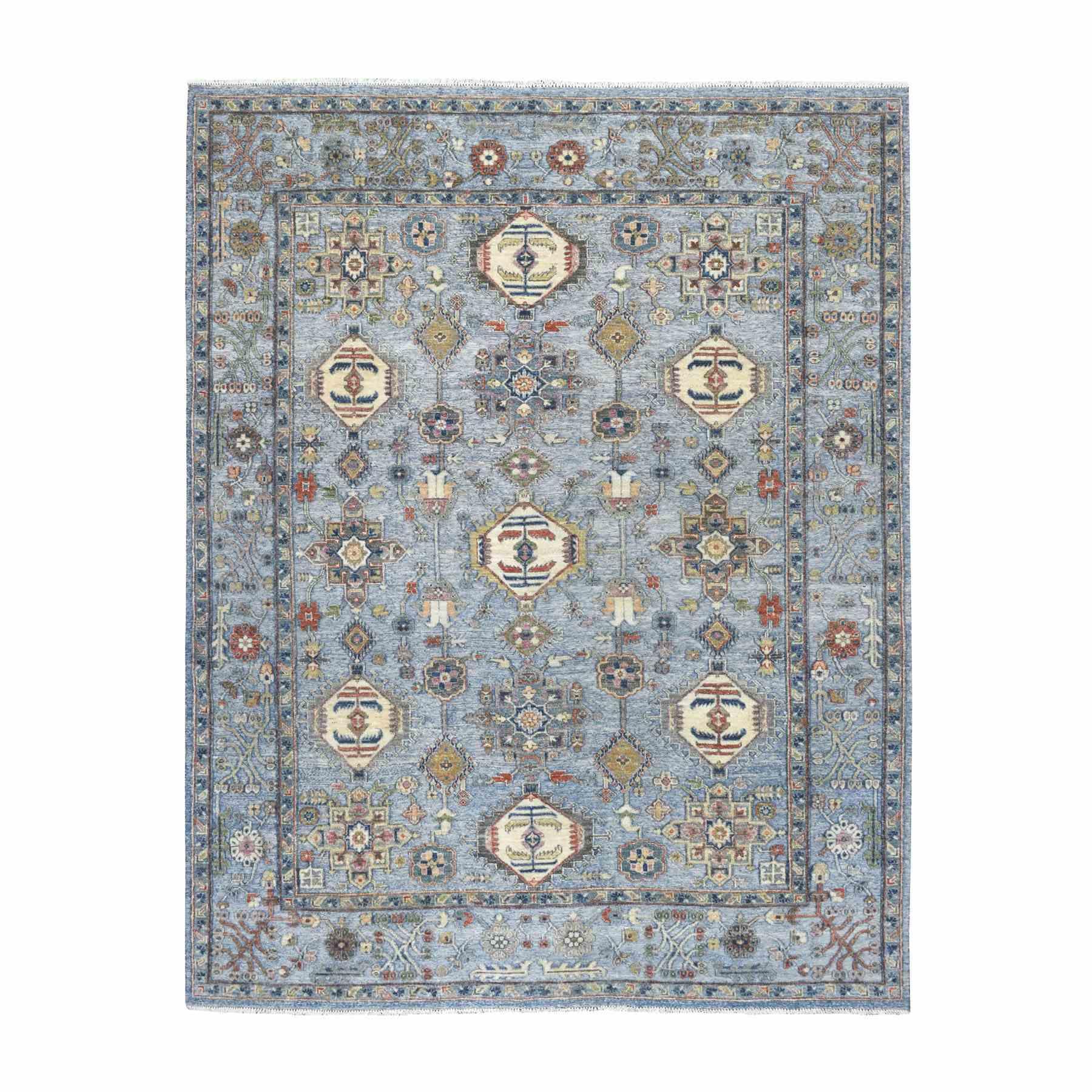 "7'9""X9'9"" Blue Peshawar With Karajeh Design Organic Textured Wool Hand Knotted Oriental Rug moaeea99"