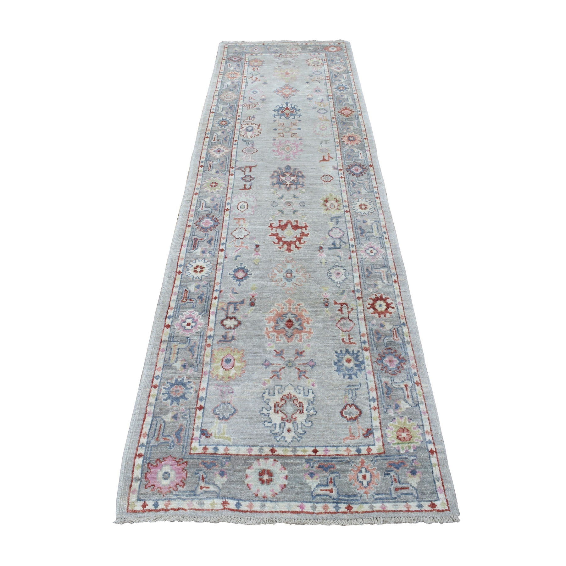 "2'9""X9'10"" Gray Angora Oushak With Soft Velvety Wool Hand Knotted Oriental Runner Rug moaeec00"