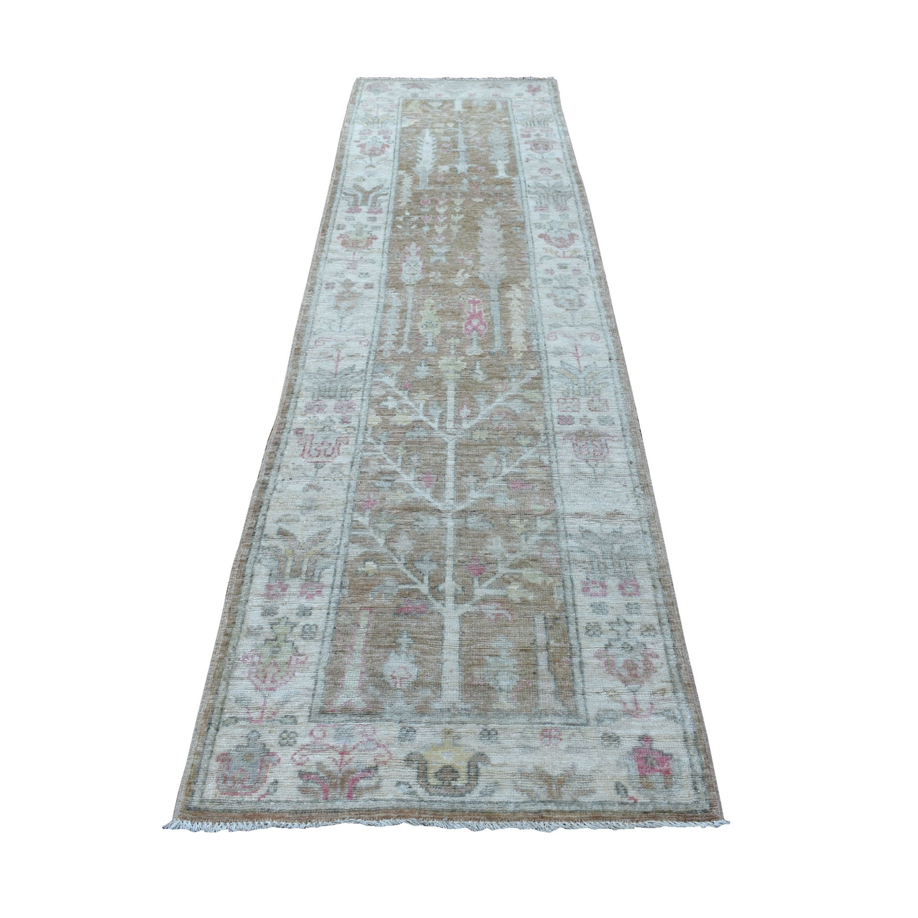 """2'9""""X10'3"""" Brown Stone Wash 100% Wool Hand Knotted Angora Oushak Runner Oriental Rug moaeec87"""