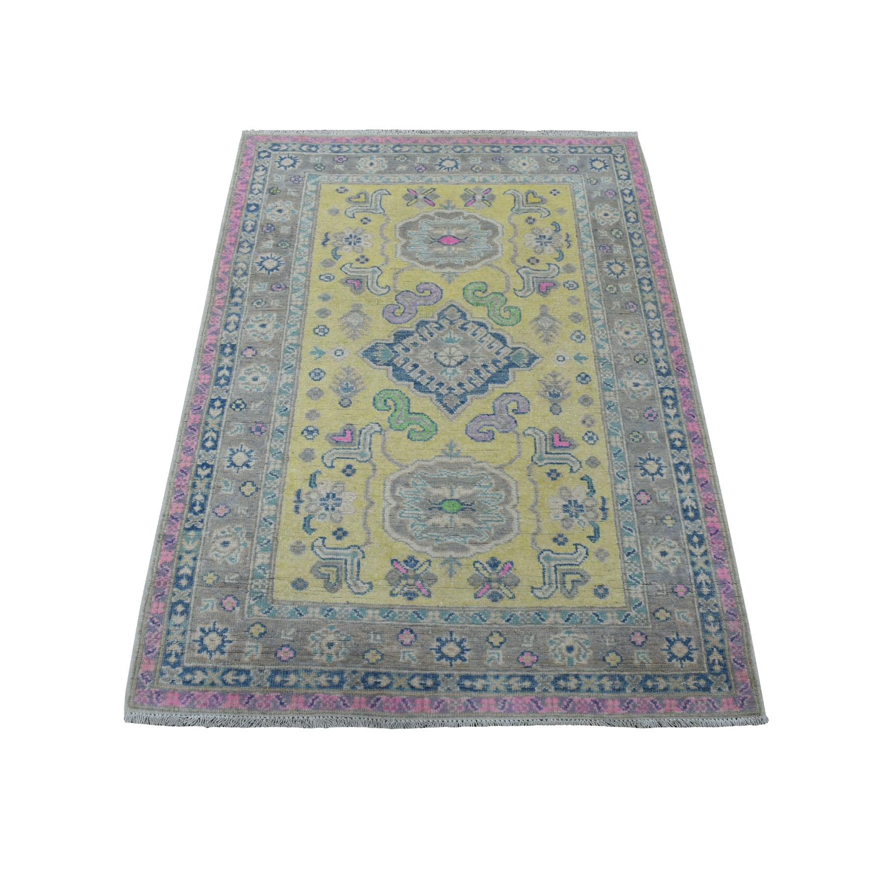 "3'3""x4'8"" Colorful Yellow Fusion Kazak Natural Wool Hand Knotted Oriental Rug"