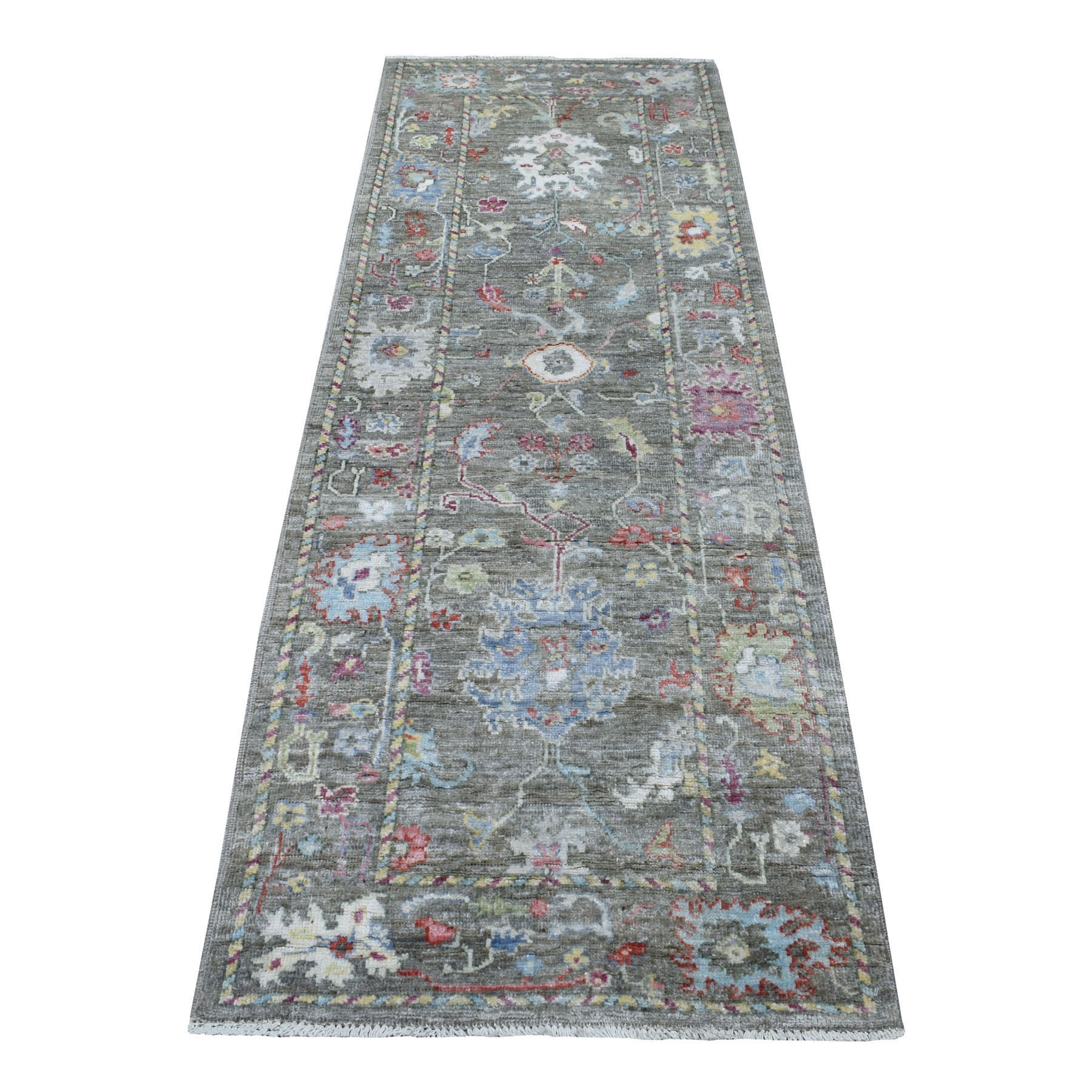 """2'9""""X7'10"""" Distressed Taupe Angora Oushak Natural Wool Hand Knotted Runner Oriental Rug moaeedd7"""