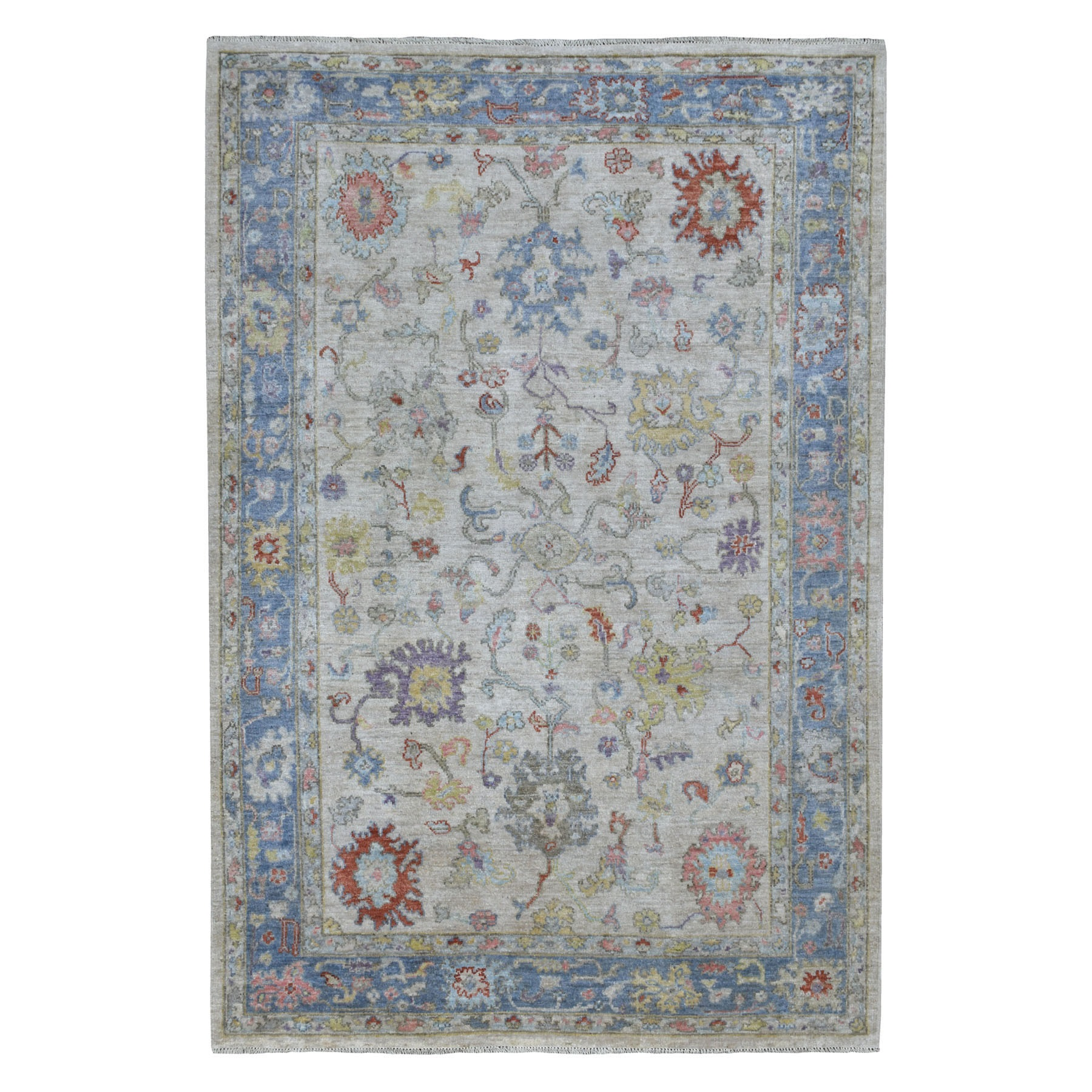 "6'X8'8"" Gray Angora Oushak With Floral Motifs Pure Wool Hand Knotted Oriental Rug moaeed70"