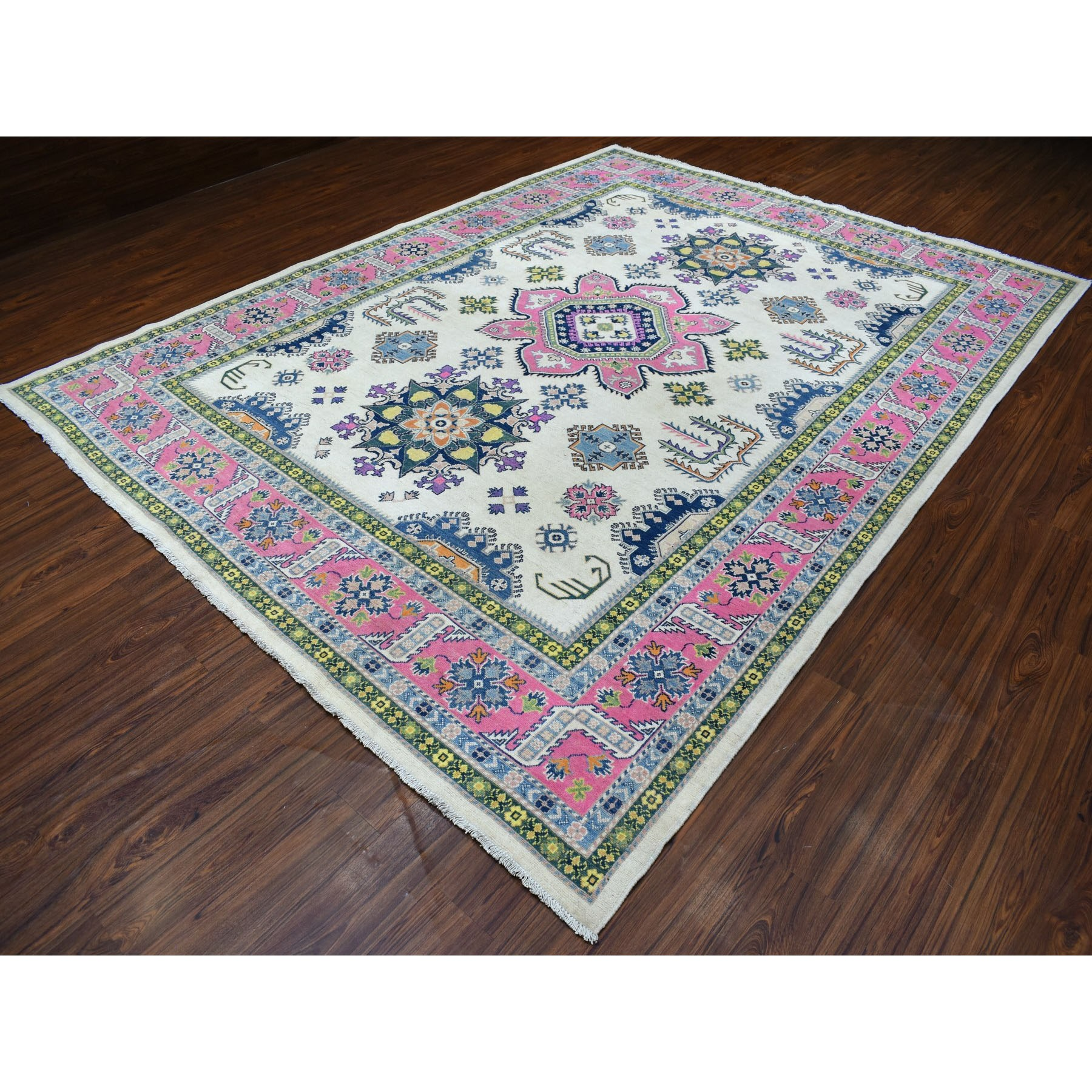 "8'10""x11'6"" Colorful Ivory Fusion Kazak Natural Wool Hand Knotted Oriental Rug"
