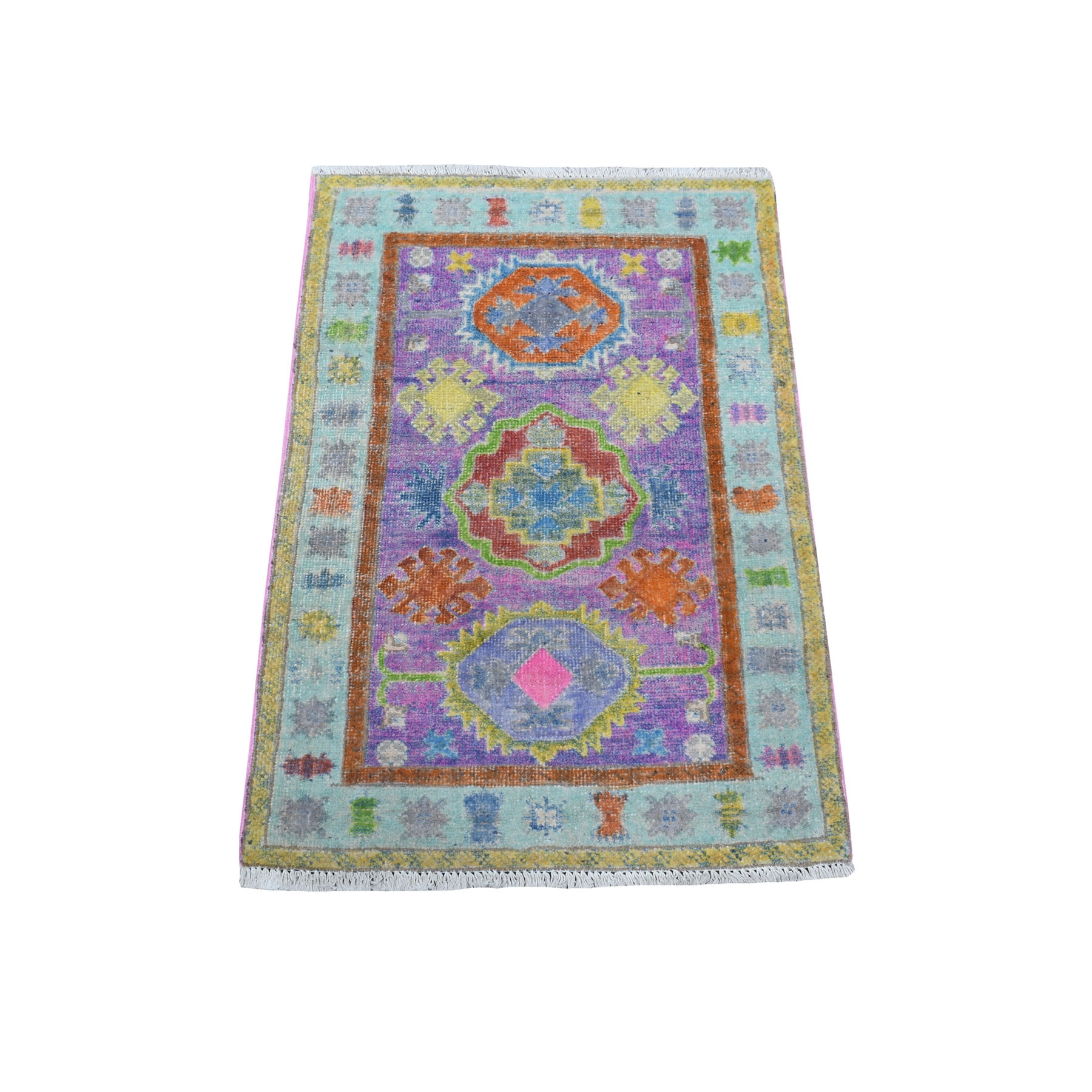 2'x3' Purple Fusion Kazak Natural Wool Hand Knotted Mat Oriental Rug